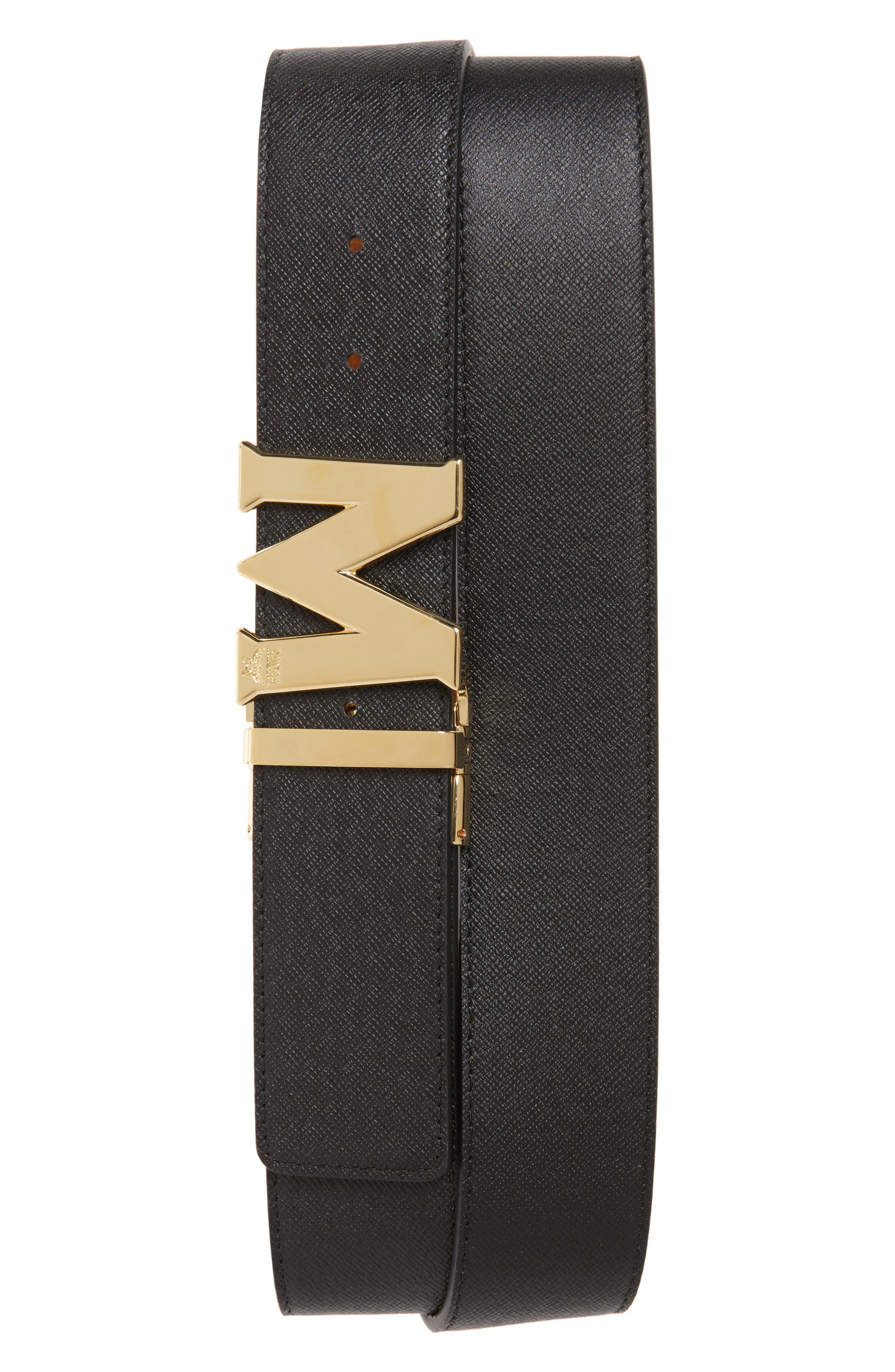 MCM, Reversible Signature Leather Belt, Alternate thumbnail 2, color, COGNAC