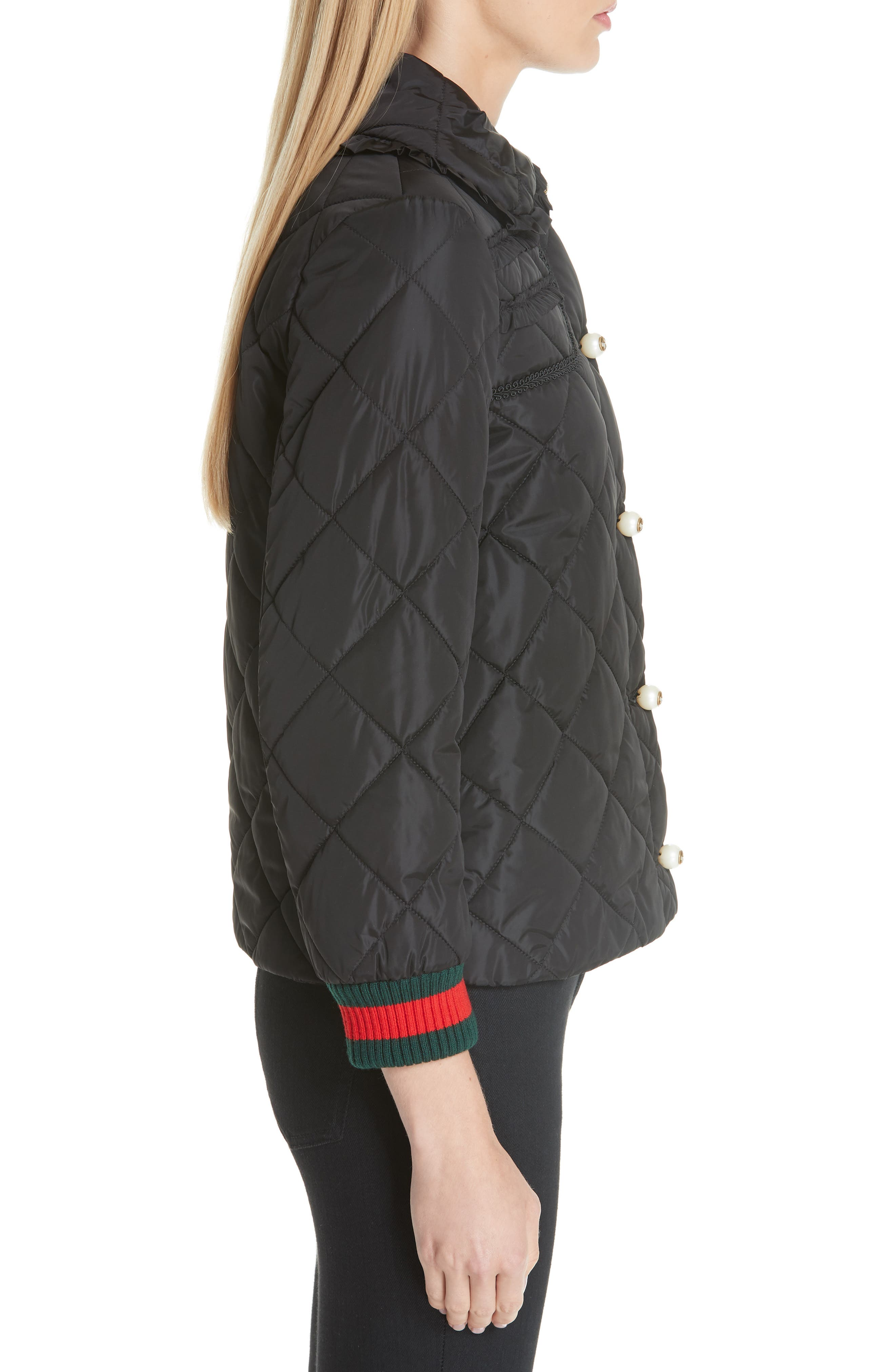 GUCCI, Ruffle Trim Quilted Caban, Alternate thumbnail 3, color, NERO