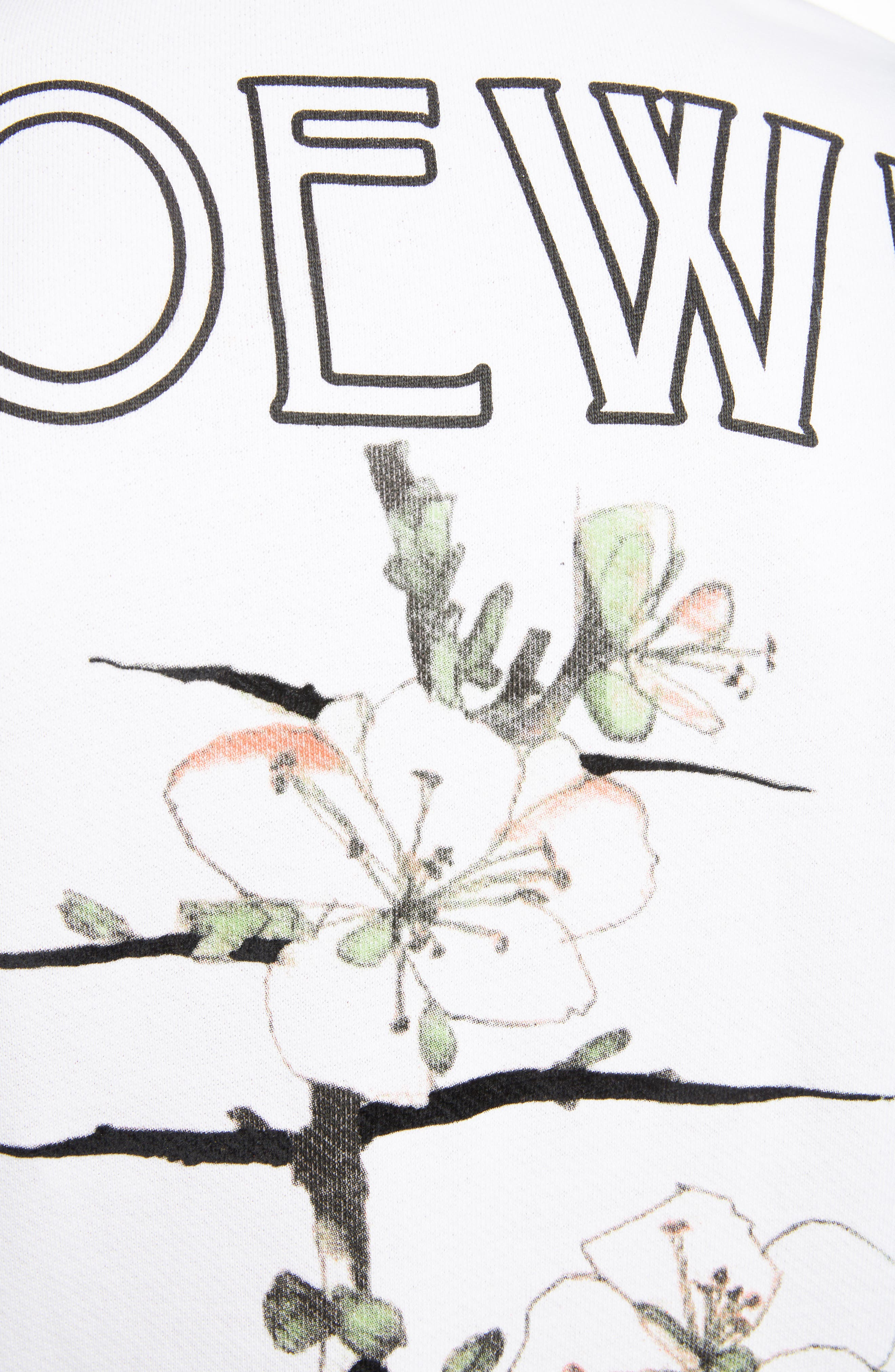 LOEWE, Charles Rennie Mackintosh Collection Botanical Print Sweatshirt, Alternate thumbnail 5, color, 2100-WHITE