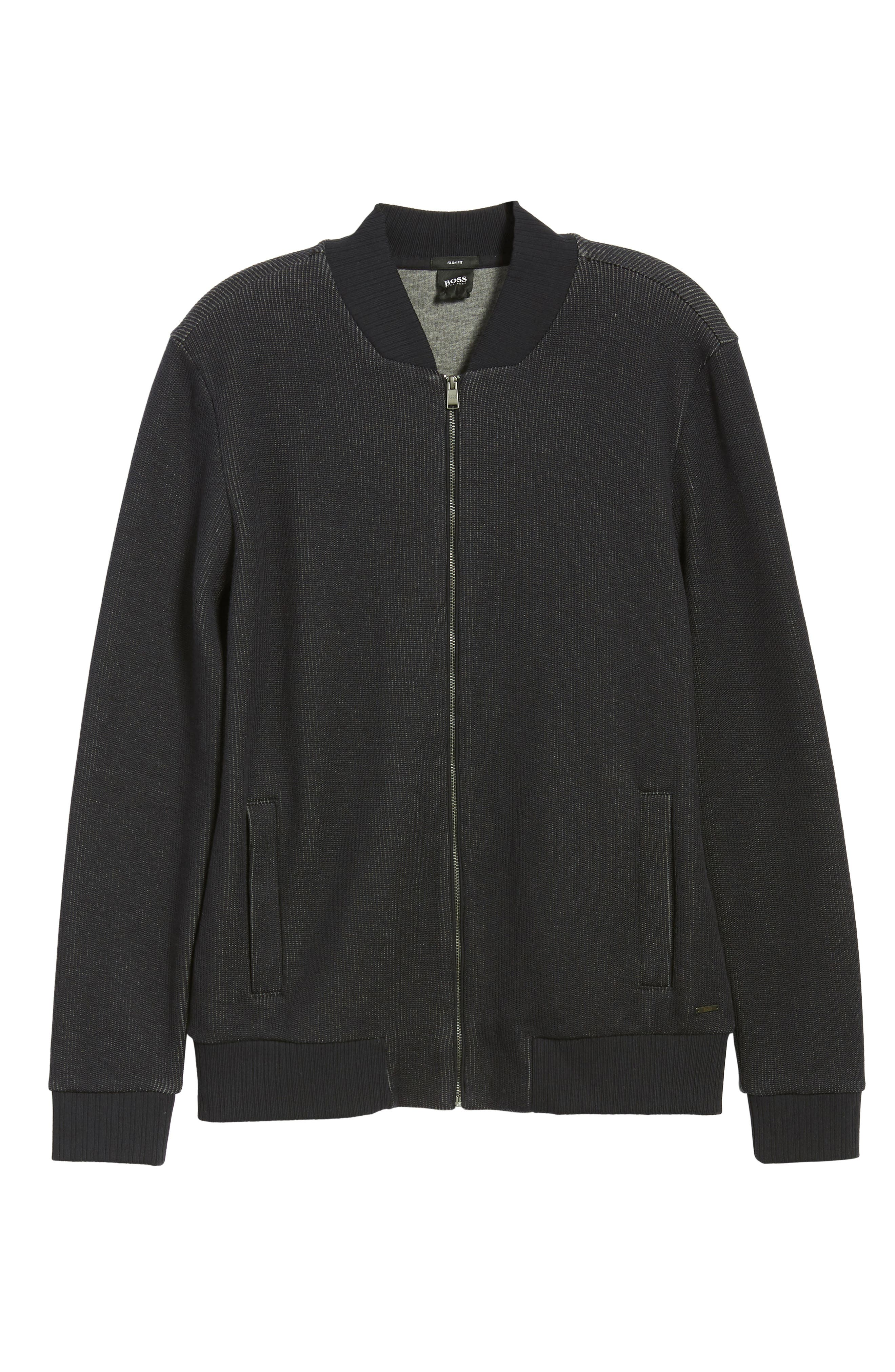 BOSS, Salea Slim Fit Sweatshirt Jacket, Alternate thumbnail 7, color, BLUE
