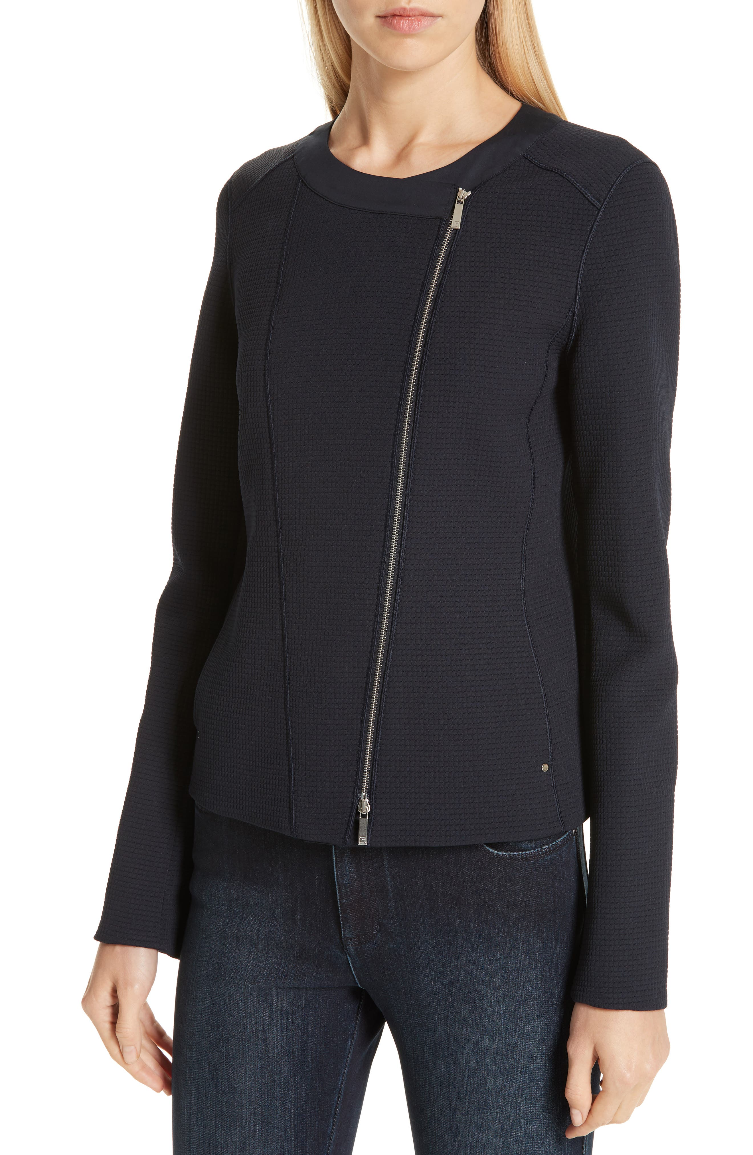 LAFAYETTE 148 NEW YORK, Trista Moto Jacket, Alternate thumbnail 5, color, INK
