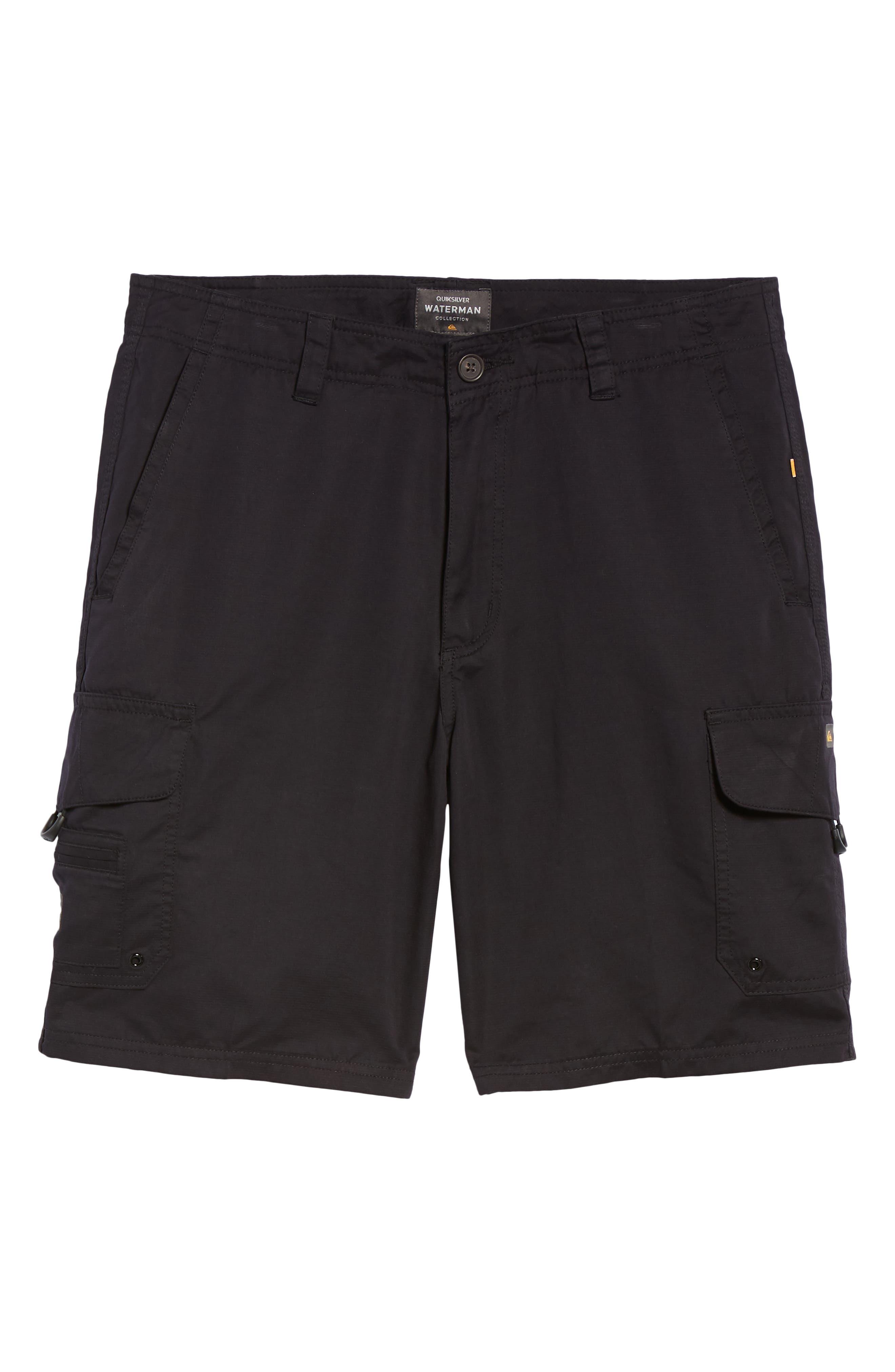 QUIKSILVER WATERMAN COLLECTION, Maldive Regular Fit Cargo Shorts, Alternate thumbnail 6, color, 001