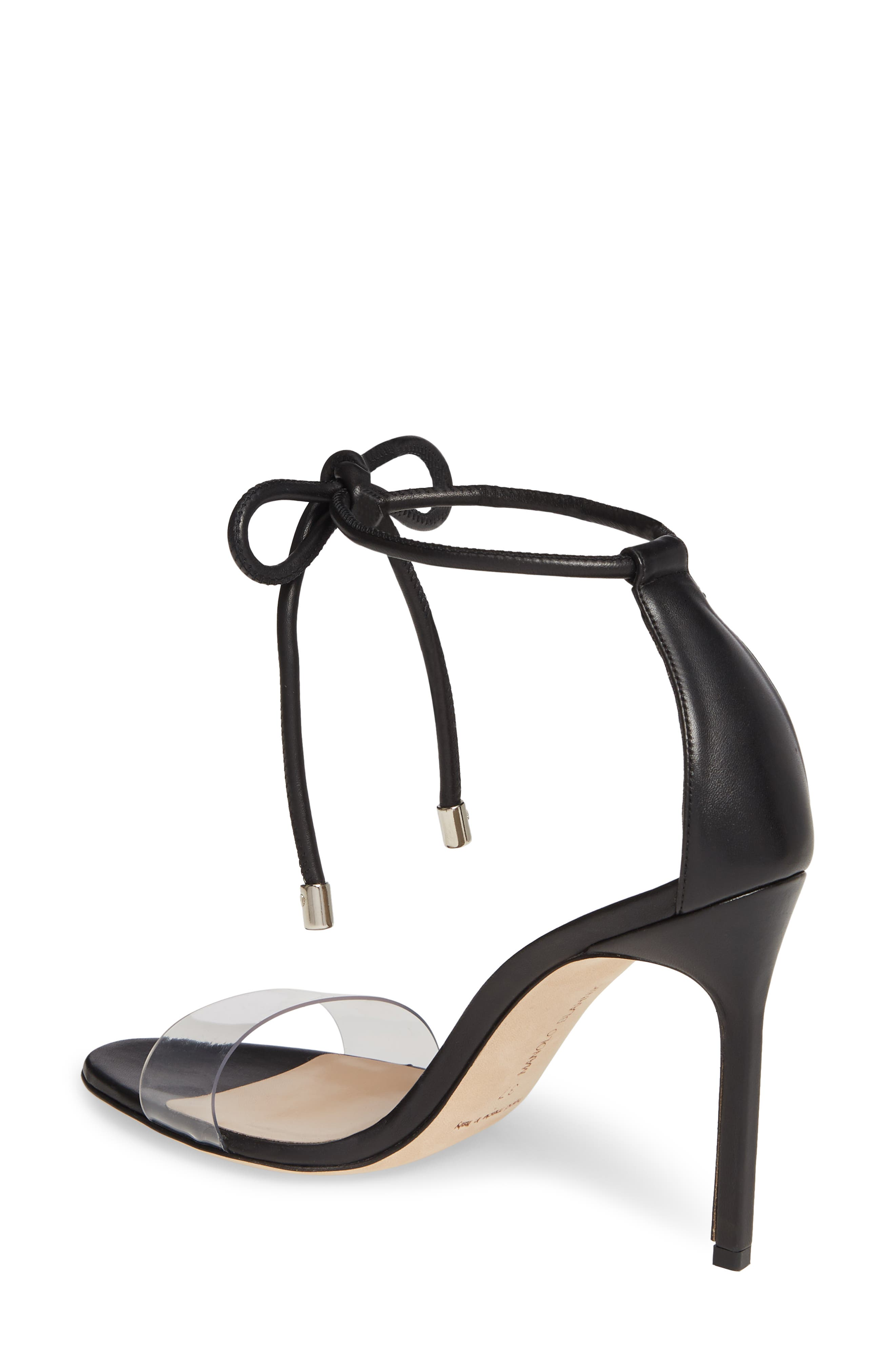 MANOLO BLAHNIK, Estro Ankle Tie Sandal, Alternate thumbnail 2, color, BLACK LEATHER