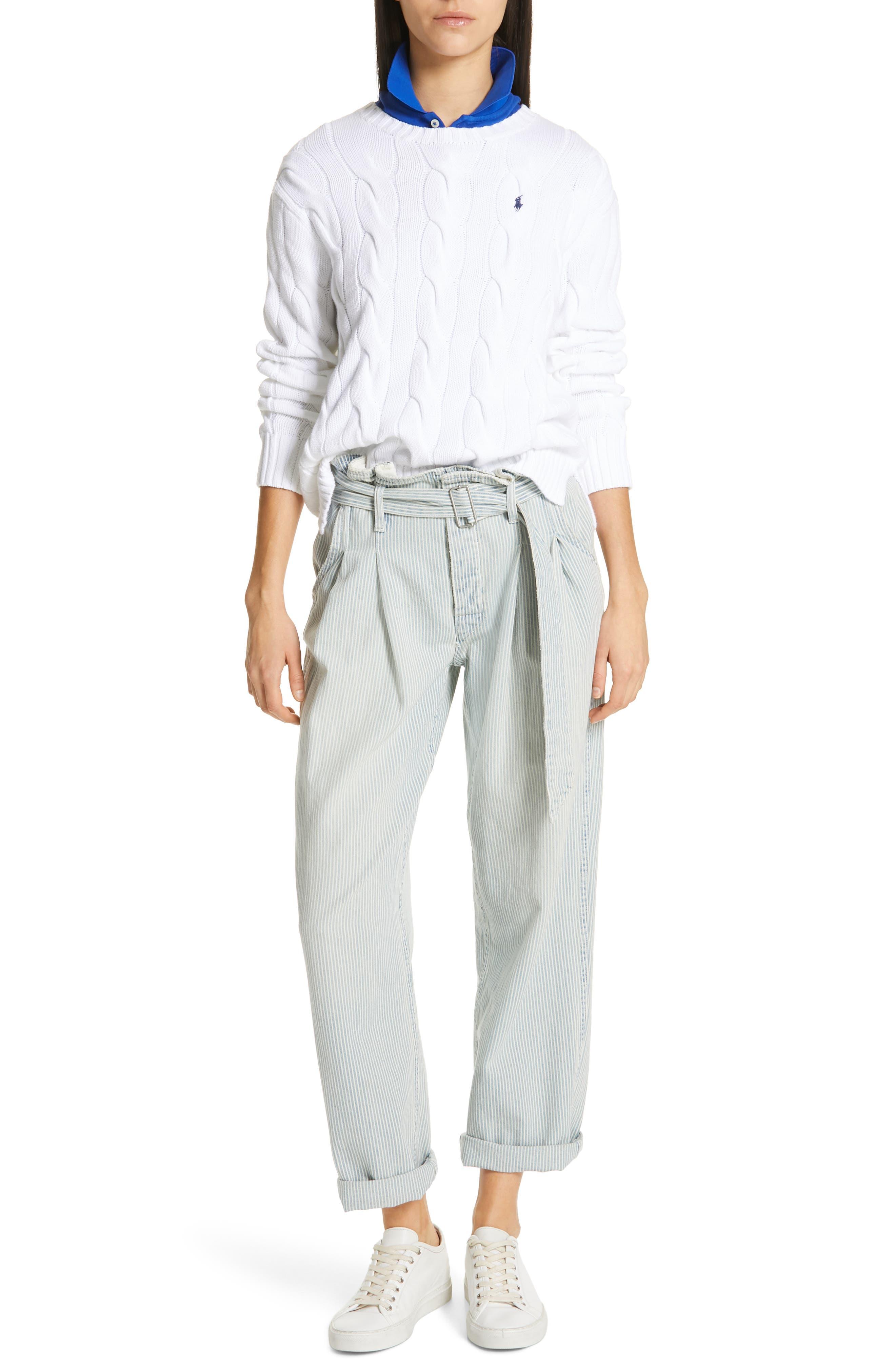 POLO RALPH LAUREN, Paperbag Waist Jeans, Alternate thumbnail 8, color, RAILROAD STRIPE