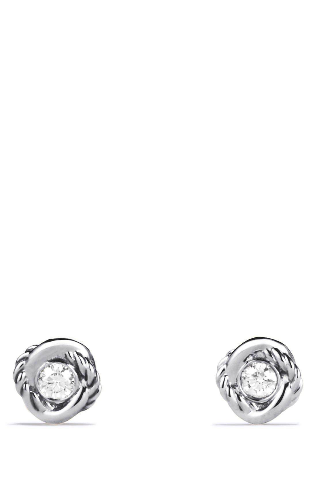 DAVID YURMAN, 'Infinity' Earrings with Diamonds, Alternate thumbnail 3, color, DIAMOND