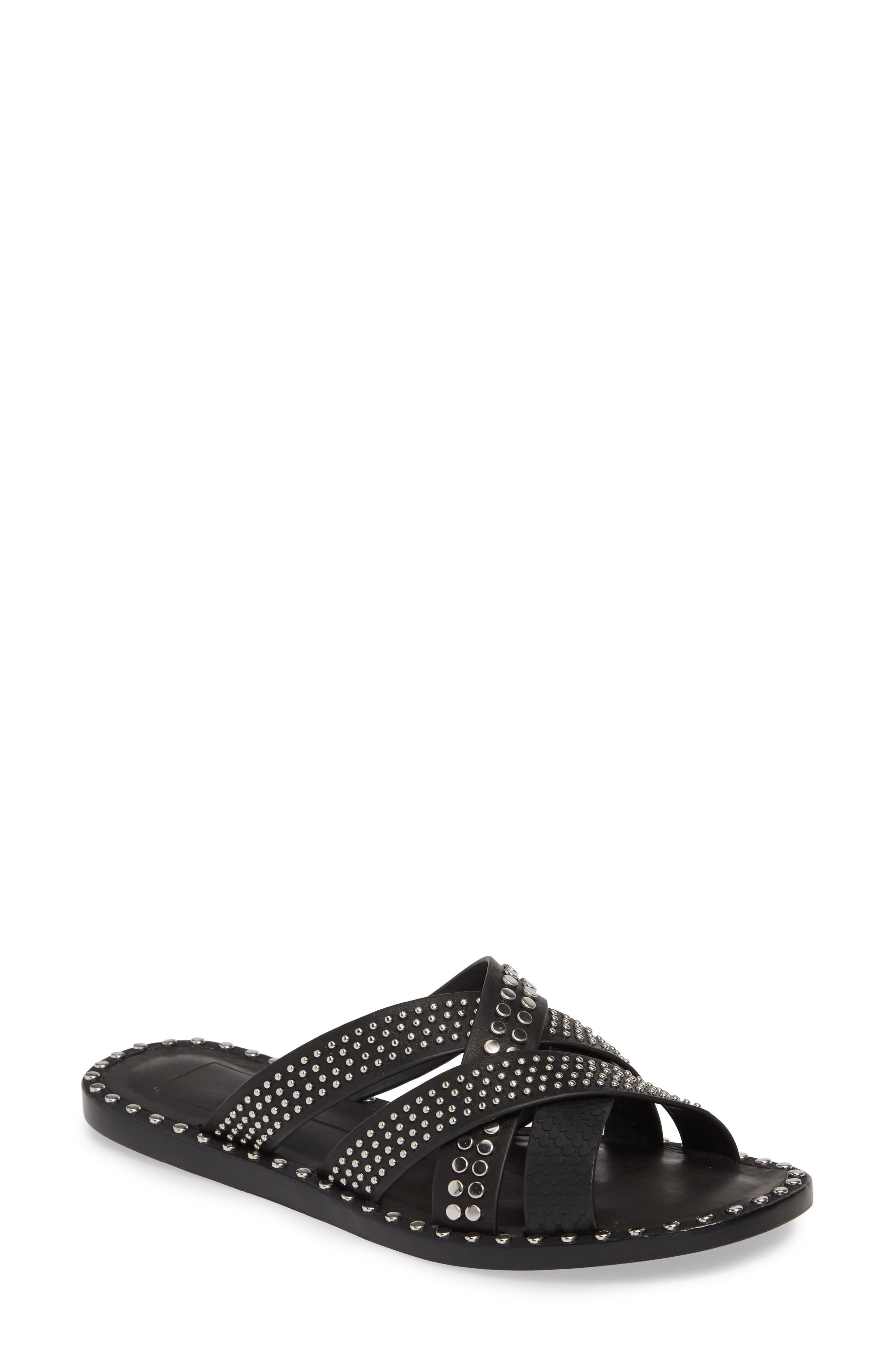 DOLCE VITA, Corbey Studded Slide Sandal, Main thumbnail 1, color, BLACK LEATHER