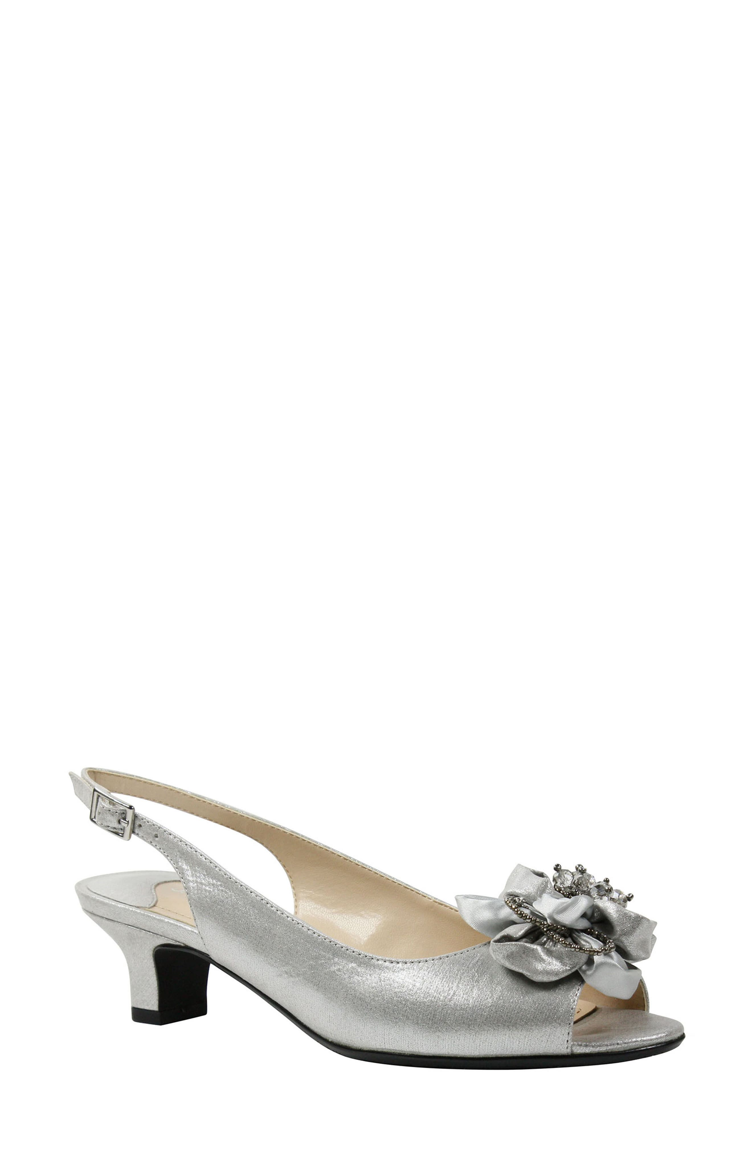 J. RENEÉ, Leonelle Slingback Crystal Embellished Sandal, Main thumbnail 1, color, SILVER SATIN