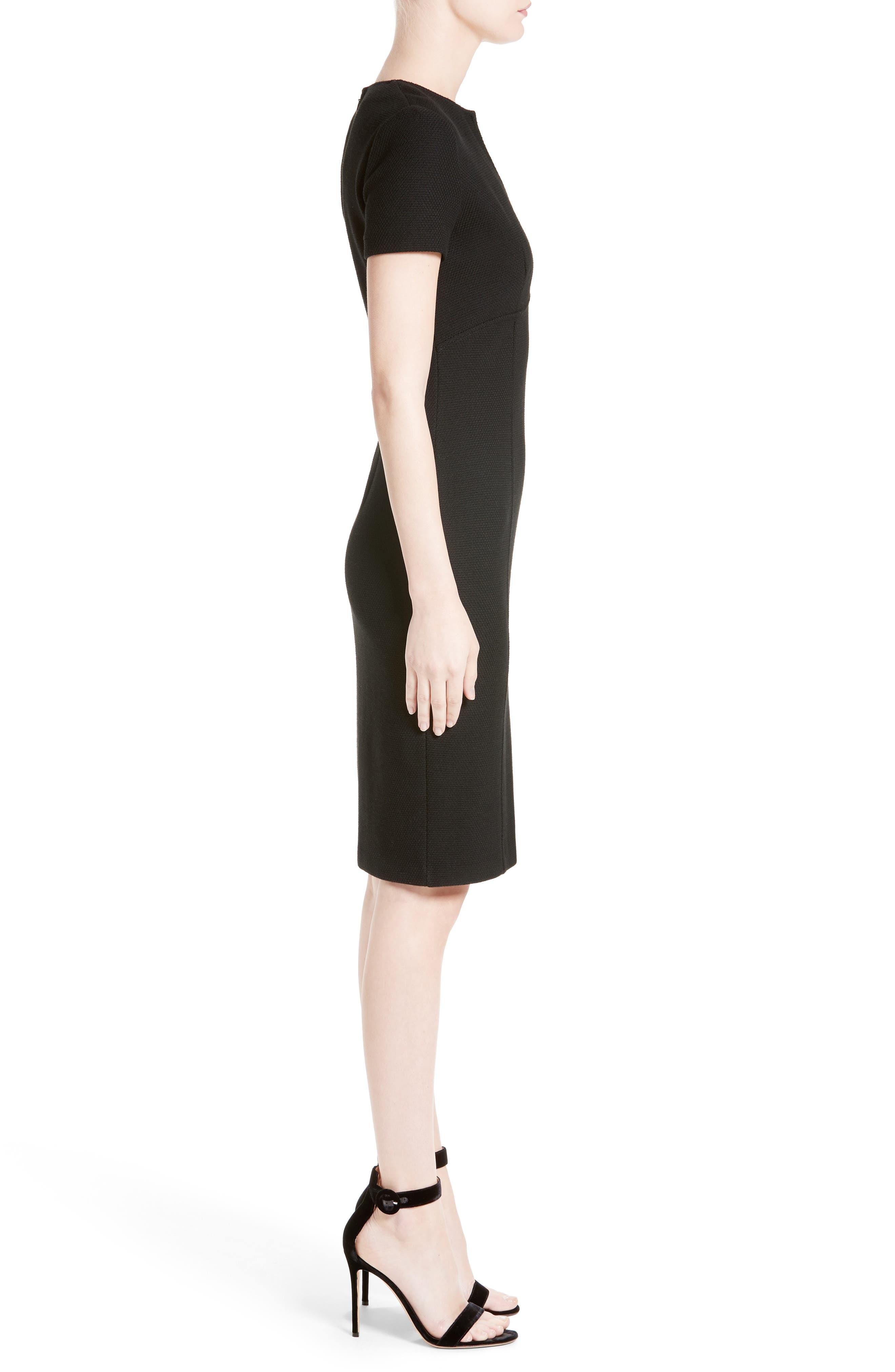 ST. JOHN COLLECTION, Micro Bouclé Knit Dress, Alternate thumbnail 3, color, CAVIAR