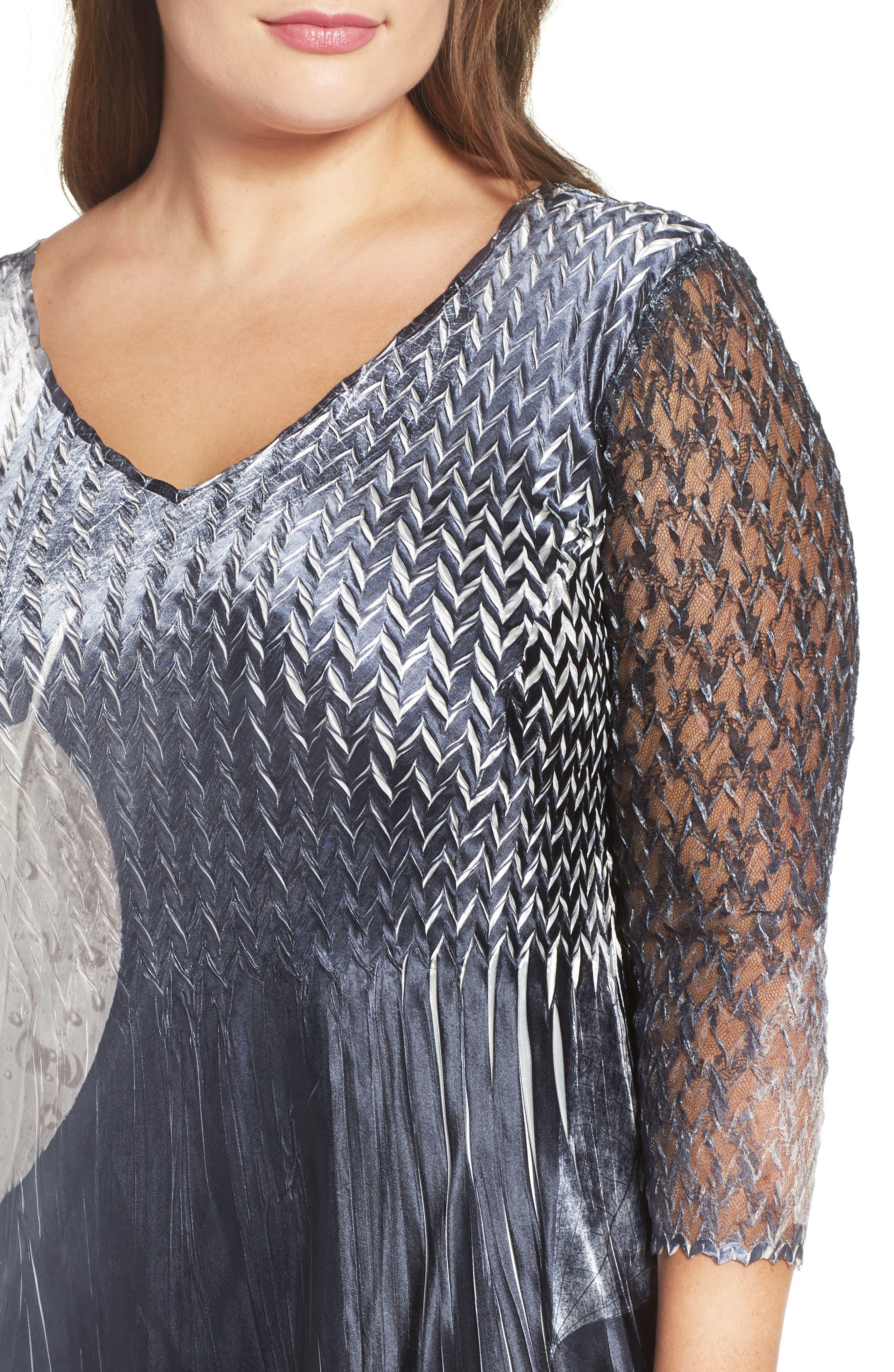 KOMAROV, Mixed Media Midi Dress, Alternate thumbnail 4, color, BLACK MONEY LEAVES