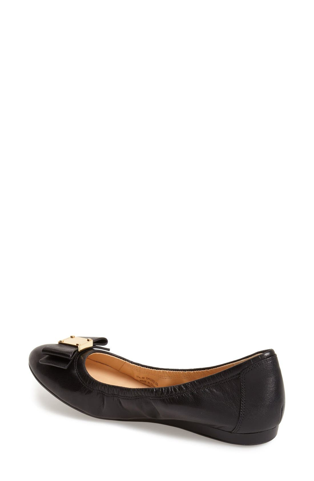 COLE HAAN, 'Tali' Bow Ballet Flat, Alternate thumbnail 6, color, BLACK