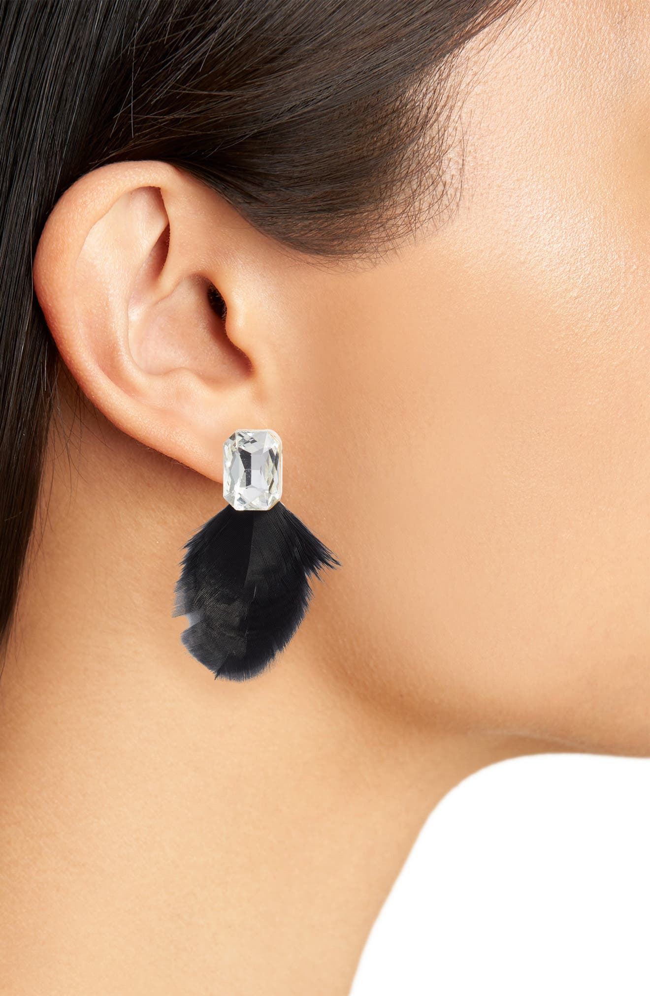 KATE SPADE NEW YORK, feather drop earrings, Alternate thumbnail 2, color, BLACK MULTI