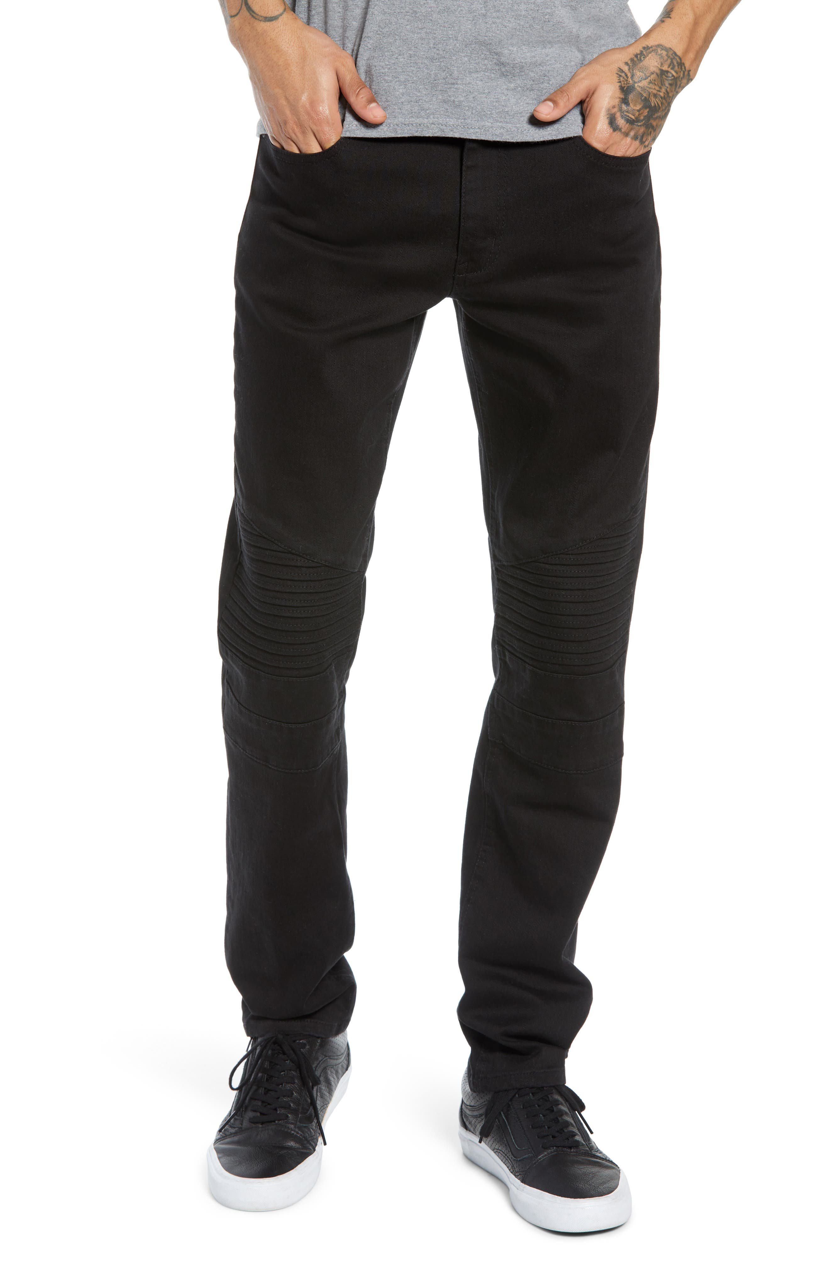 THE RAIL Skinny Moto Jeans, Main, color, BLACK WASH