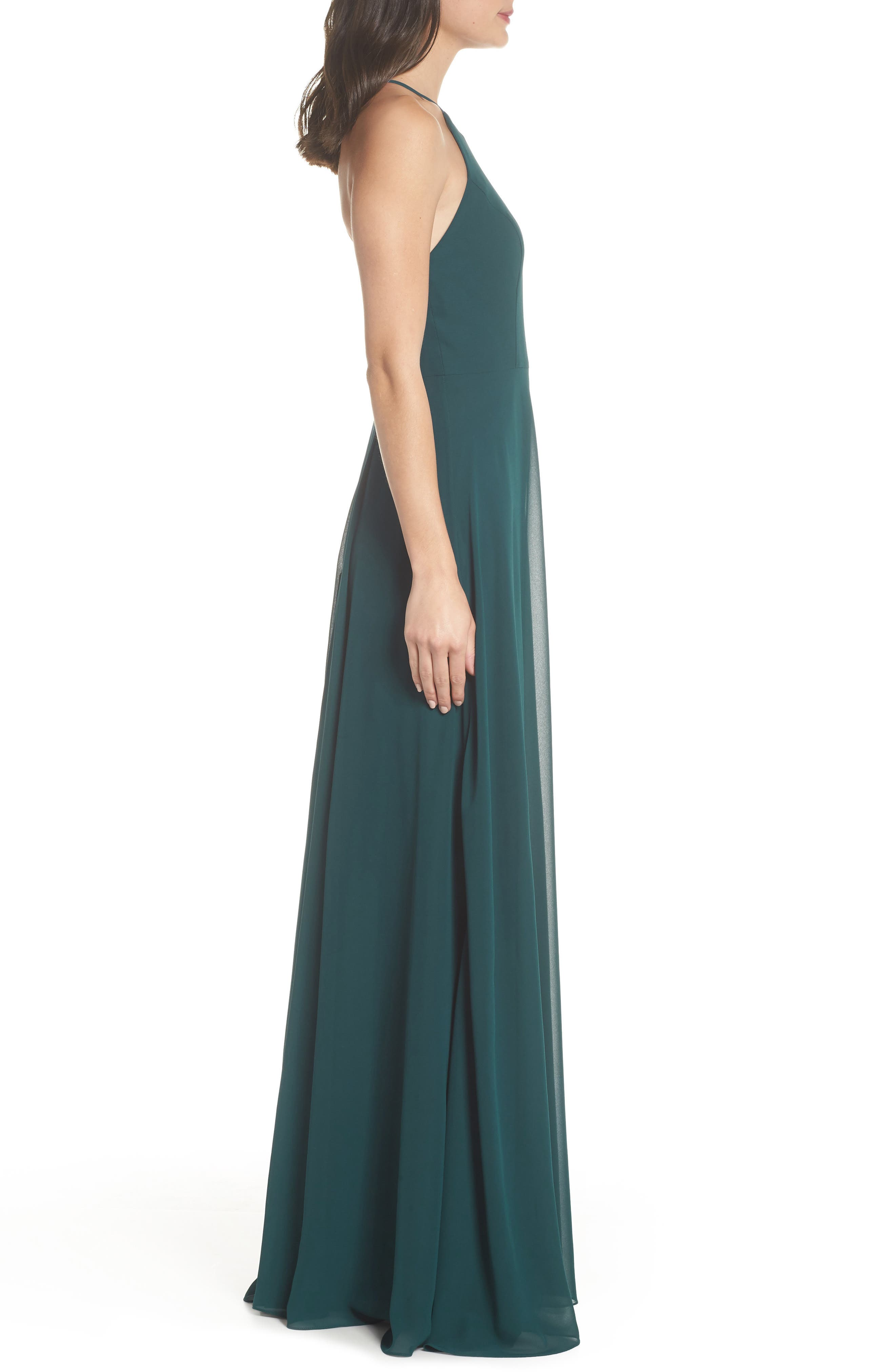 JENNY YOO, Kayla A-Line Halter Gown, Alternate thumbnail 4, color, CASPIAN SEA