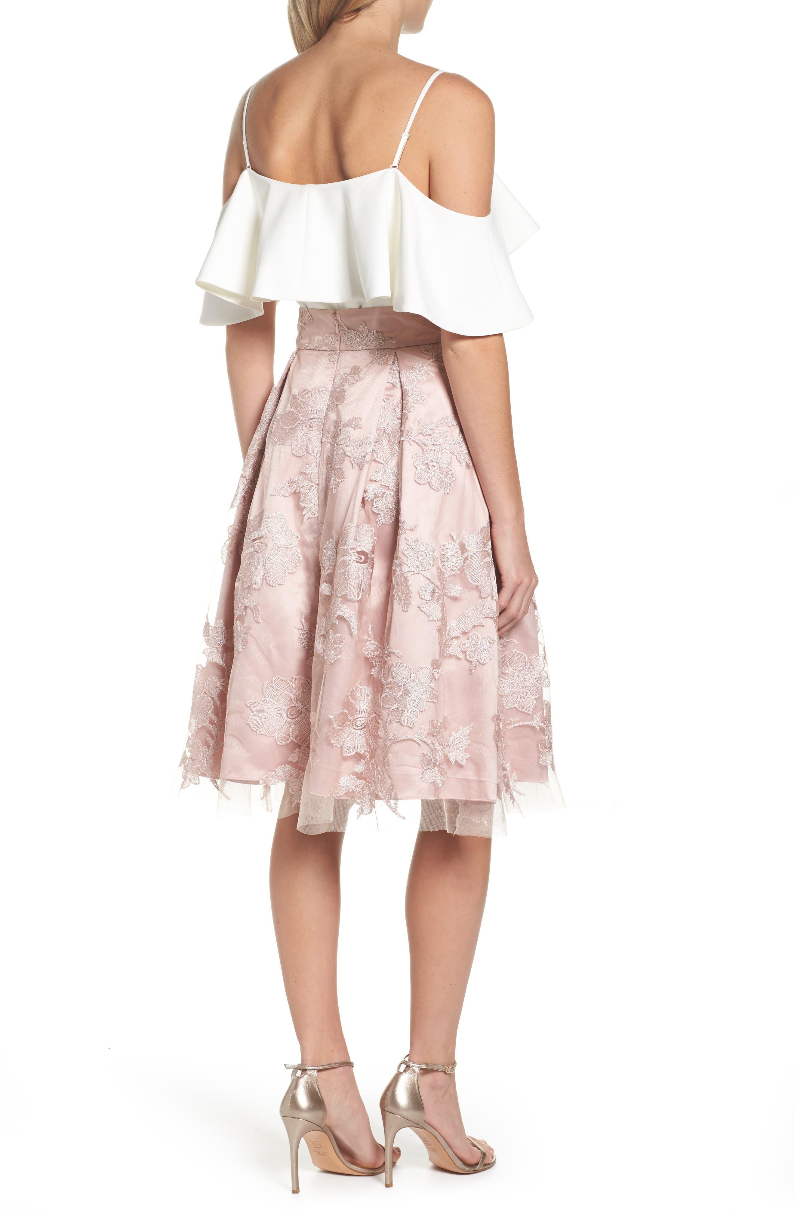 ELIZA J, Floral Embroidered Skirt, Alternate thumbnail 8, color, 254