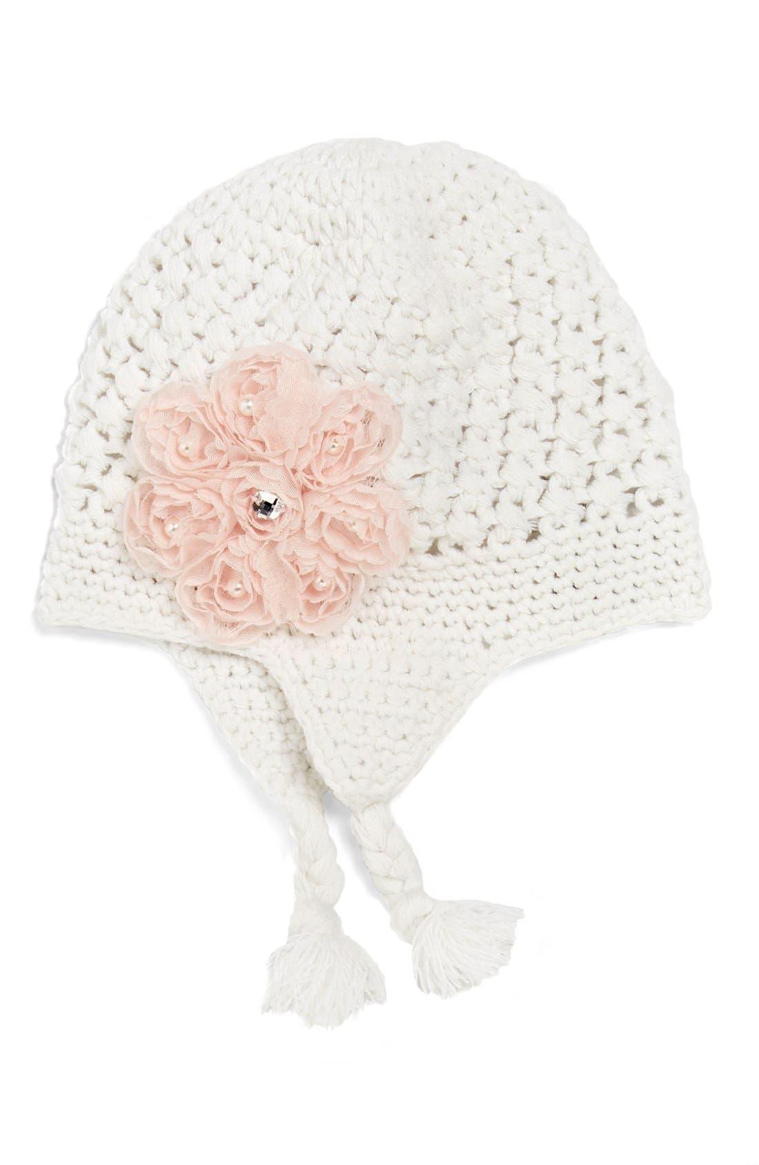 PLH BOWS, PLHBows & Laces Crochet Hat, Main thumbnail 1, color, 100