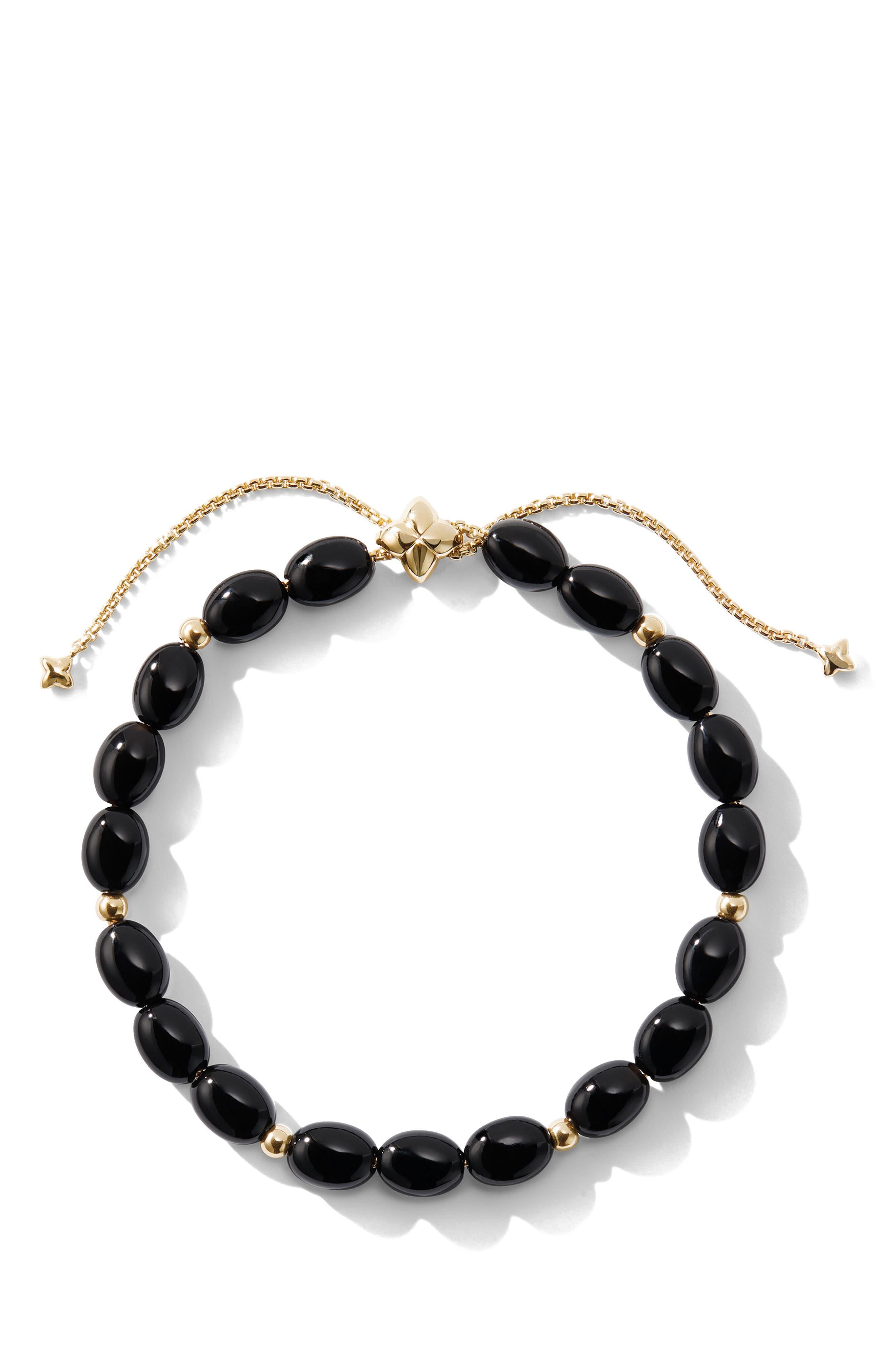 DAVID YURMAN, Spiritual Bead Bracelet with 18k Gold, Alternate thumbnail 2, color, BLACK ONYX