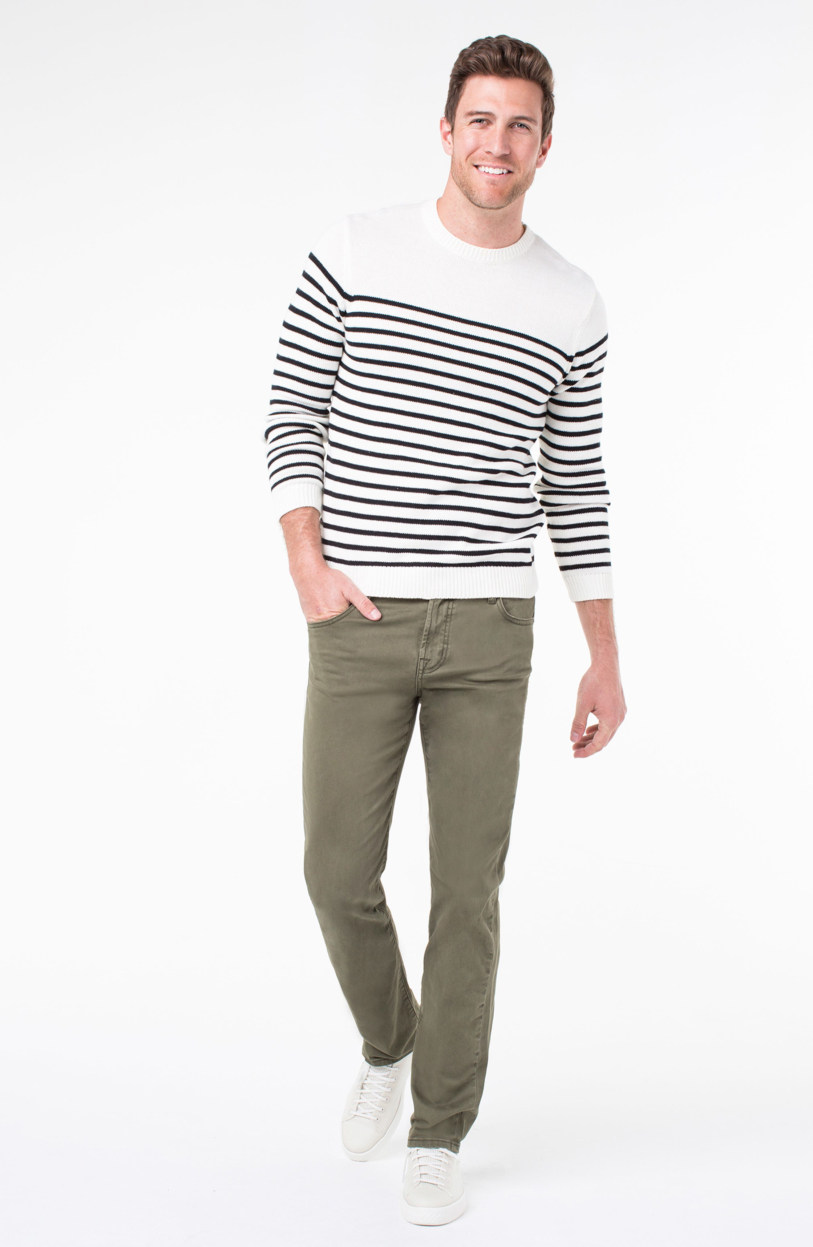 LIVERPOOL, Regent Relaxed Straight Leg Twill Pants, Alternate thumbnail 8, color, OLIVE MULCH