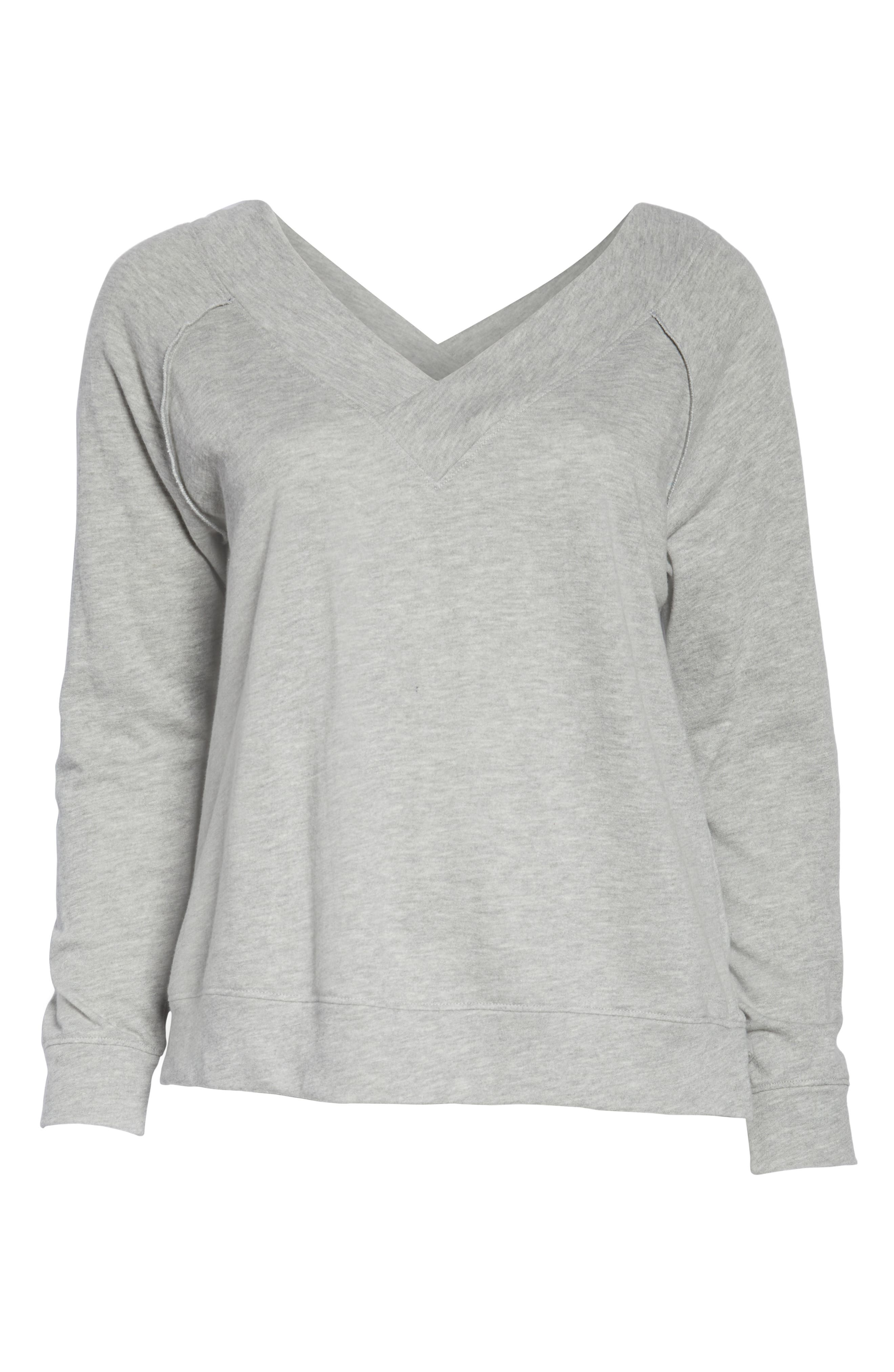 BP., Double V-neck Sweatshirt, Alternate thumbnail 12, color, GREY PEARL HEATHER