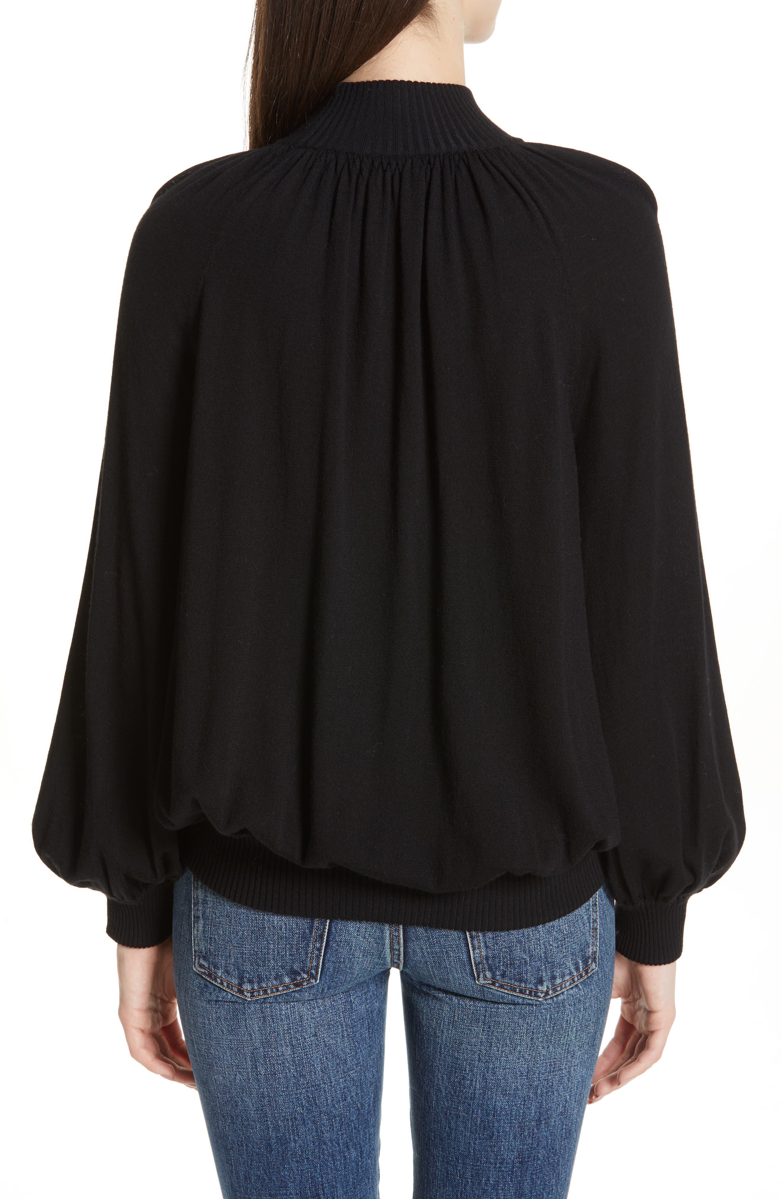 CO, Cashmere High Neck Blouson Sweater, Alternate thumbnail 2, color, BLACK