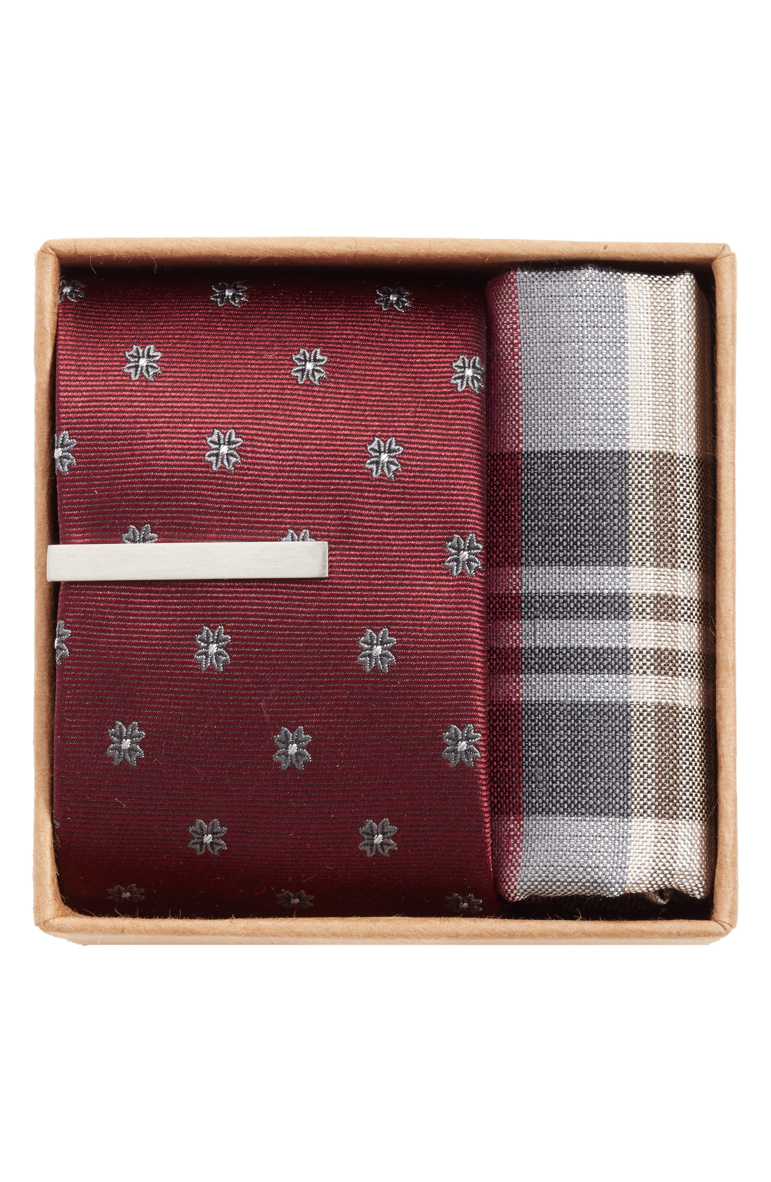 THE TIE BAR, Floral Span Box Set, Alternate thumbnail 2, color, BURGUNDY