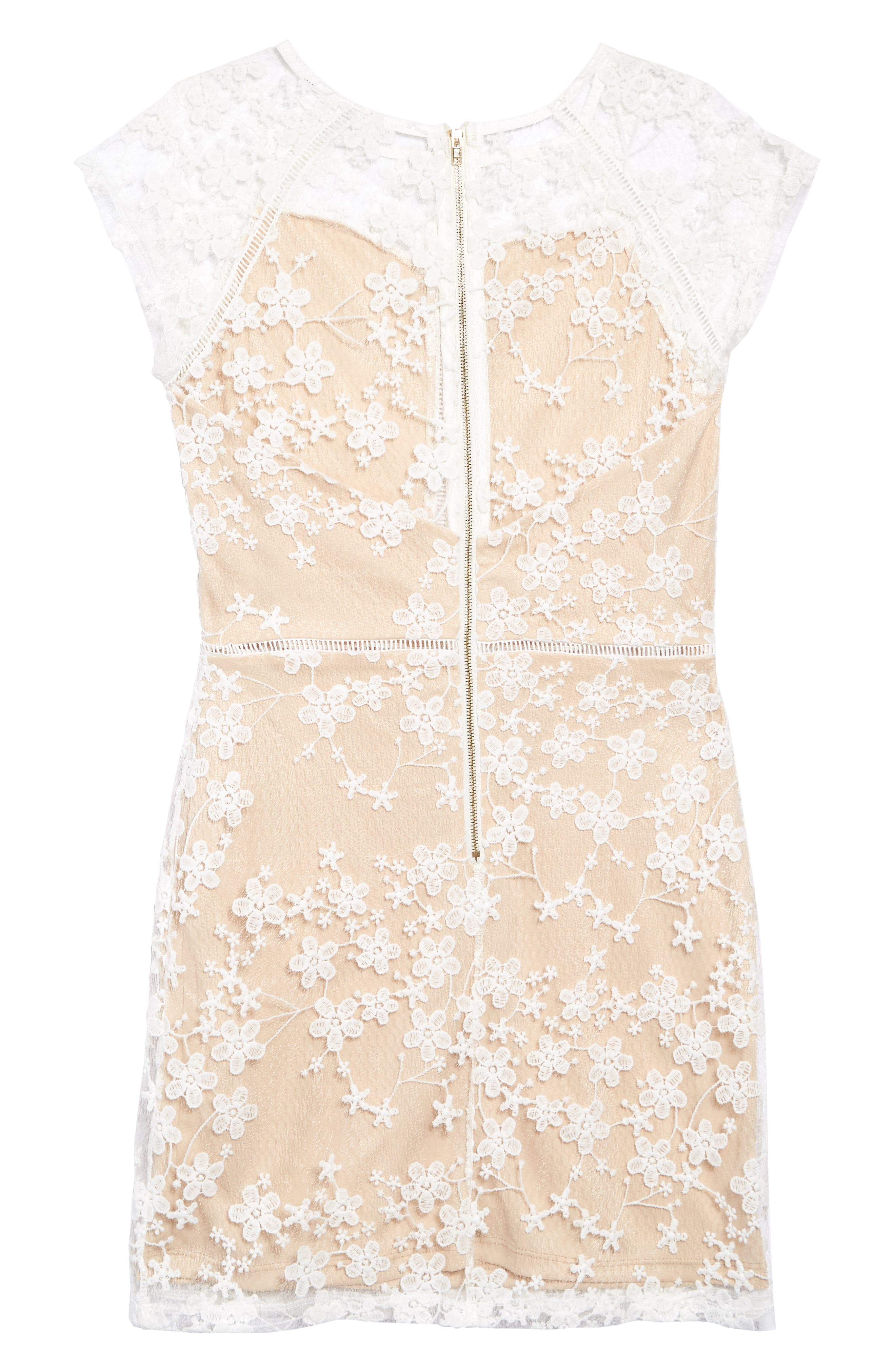 MISS BEHAVE, Lace Overlay Dress, Alternate thumbnail 2, color, WHITE/ NUDE