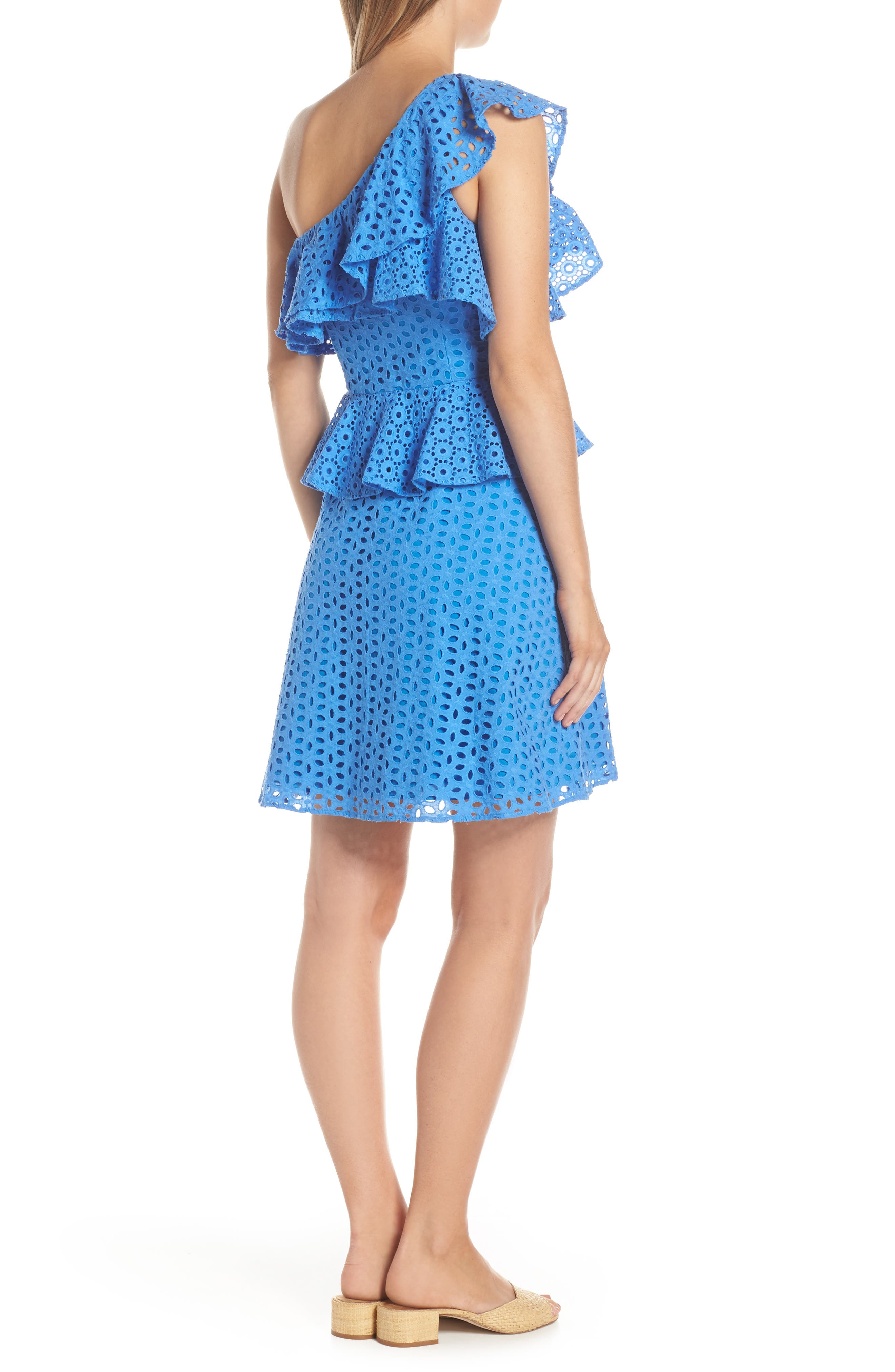 LILLY PULITZER<SUP>®</SUP>, Josey Eyelet One-Shoulder Dress, Alternate thumbnail 2, color, COASTAL BLUE OVAL FLOWER