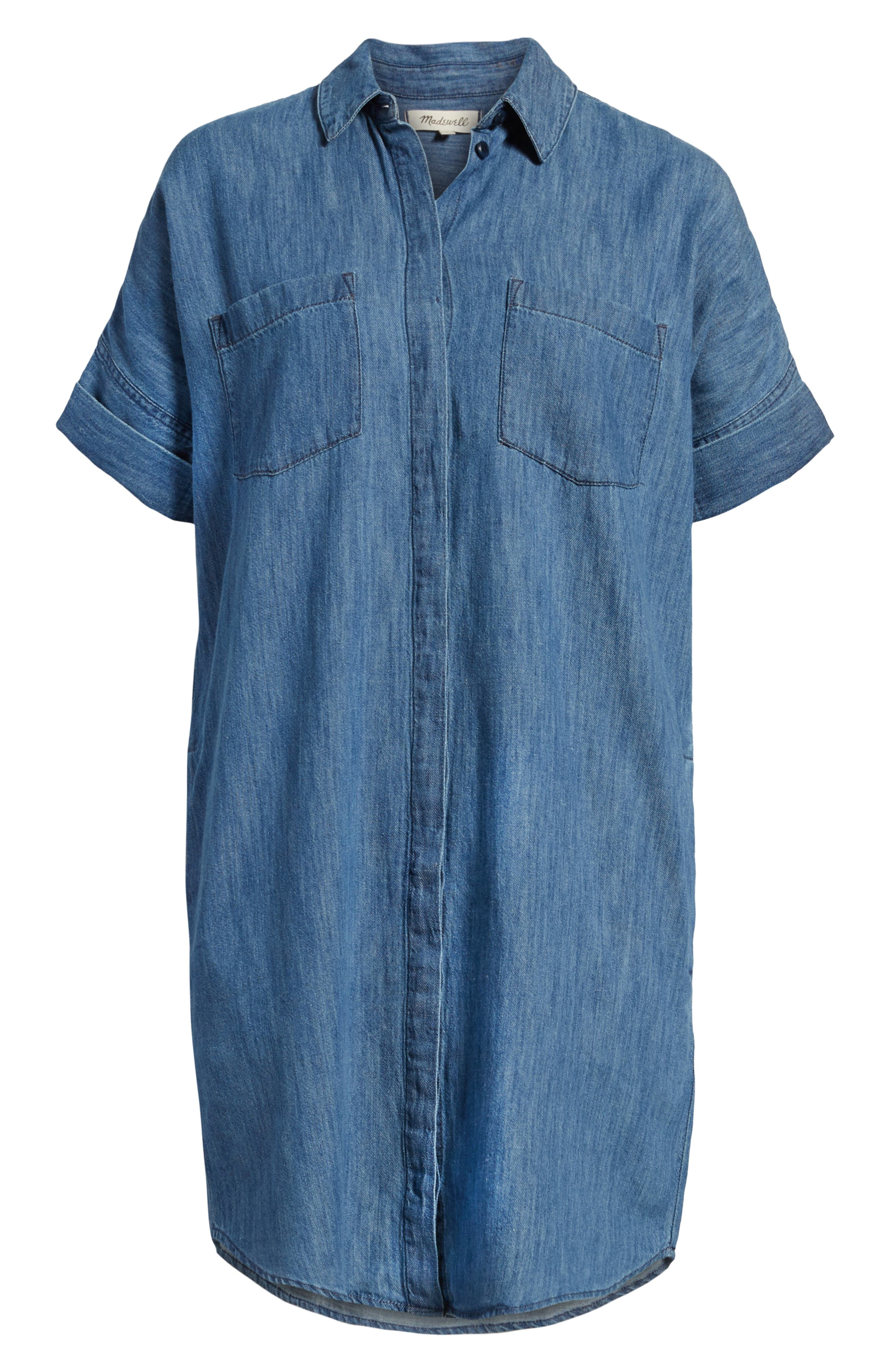 MADEWELL, Courier Denim Shirtdress, Alternate thumbnail 6, color, 400