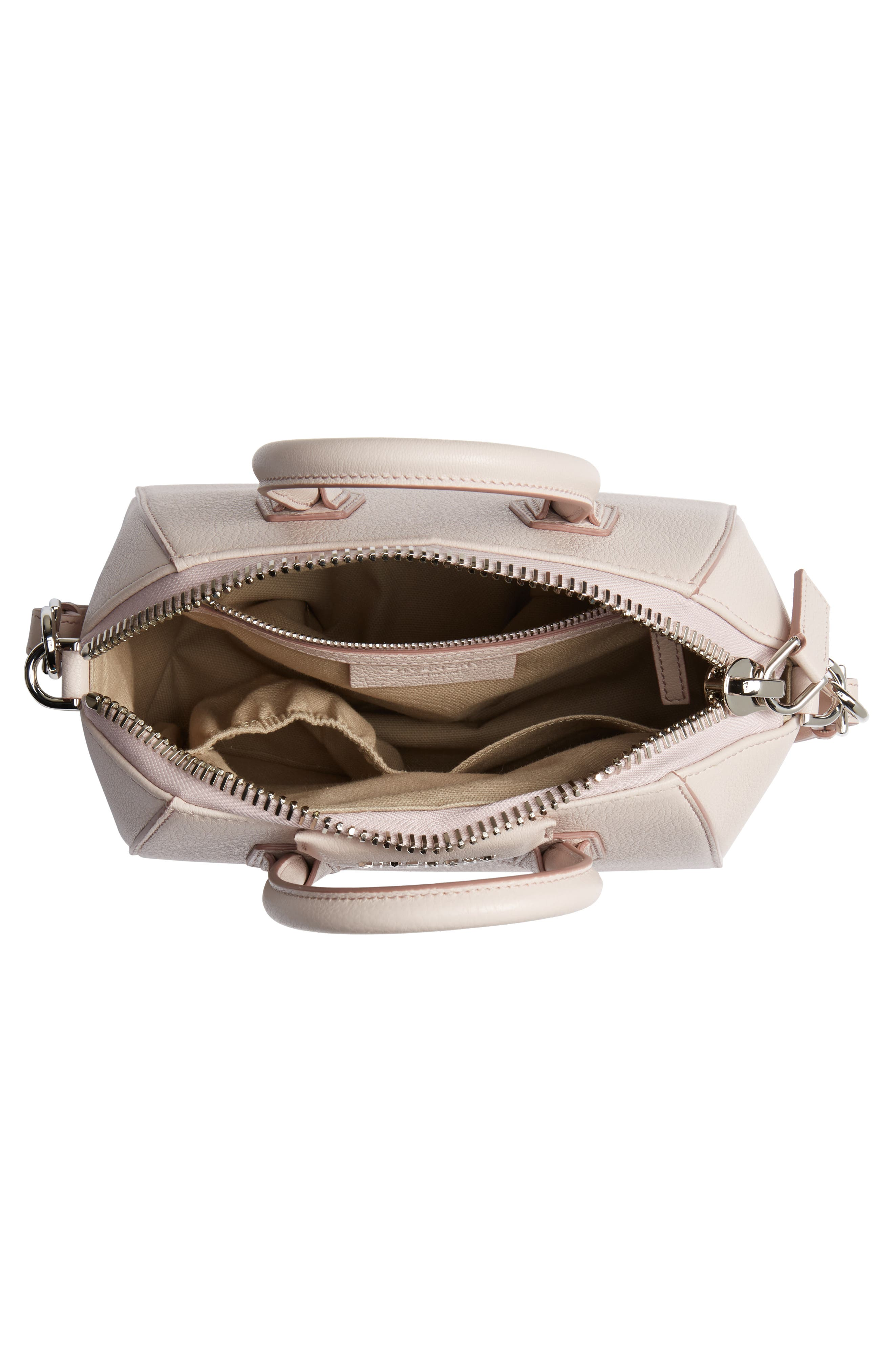 GIVENCHY, 'Mini Antigona' Sugar Leather Satchel, Alternate thumbnail 4, color, PALE PINK