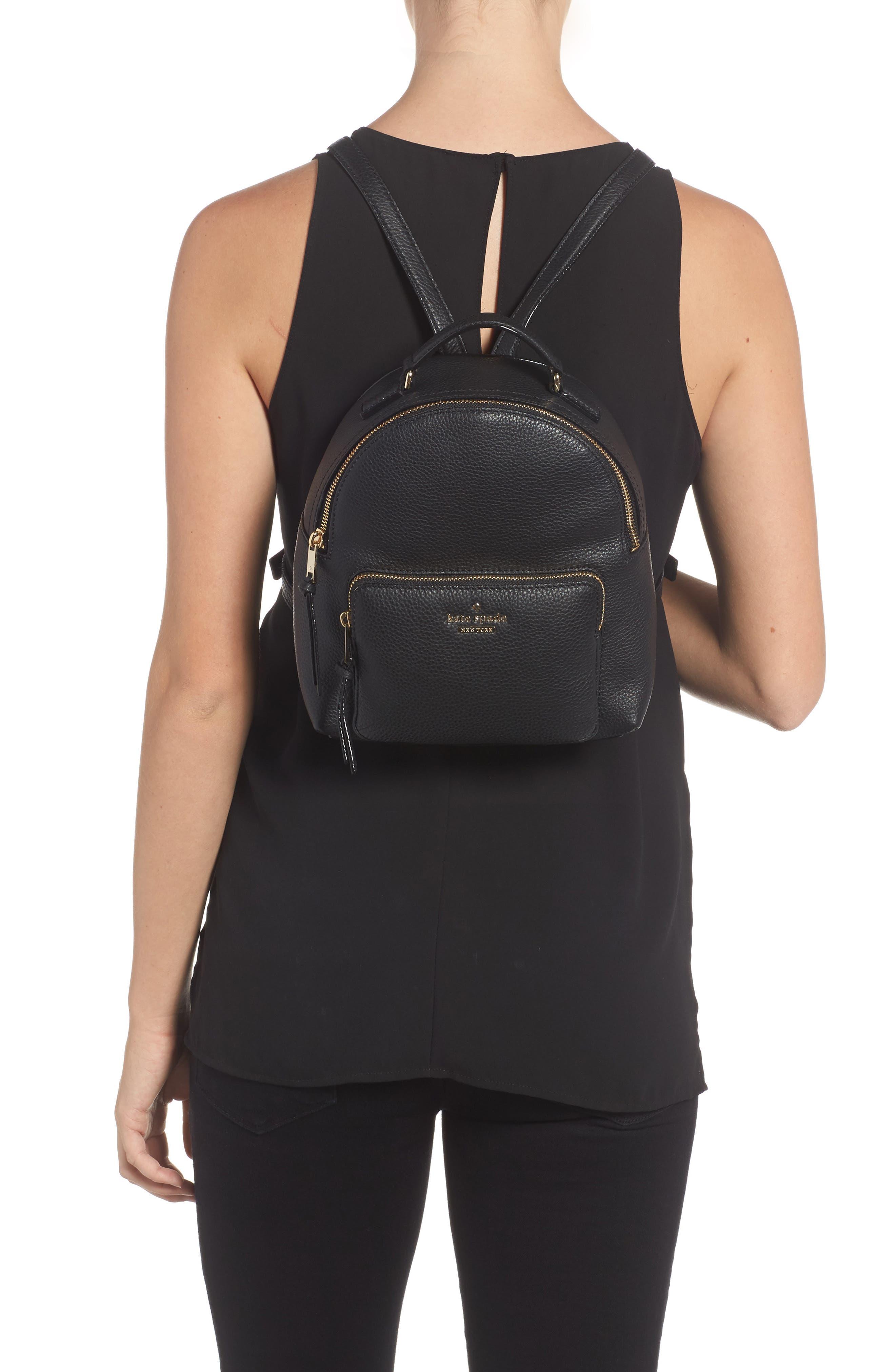 KATE SPADE NEW YORK, jackson street - keleigh leather backpack, Alternate thumbnail 2, color, 001