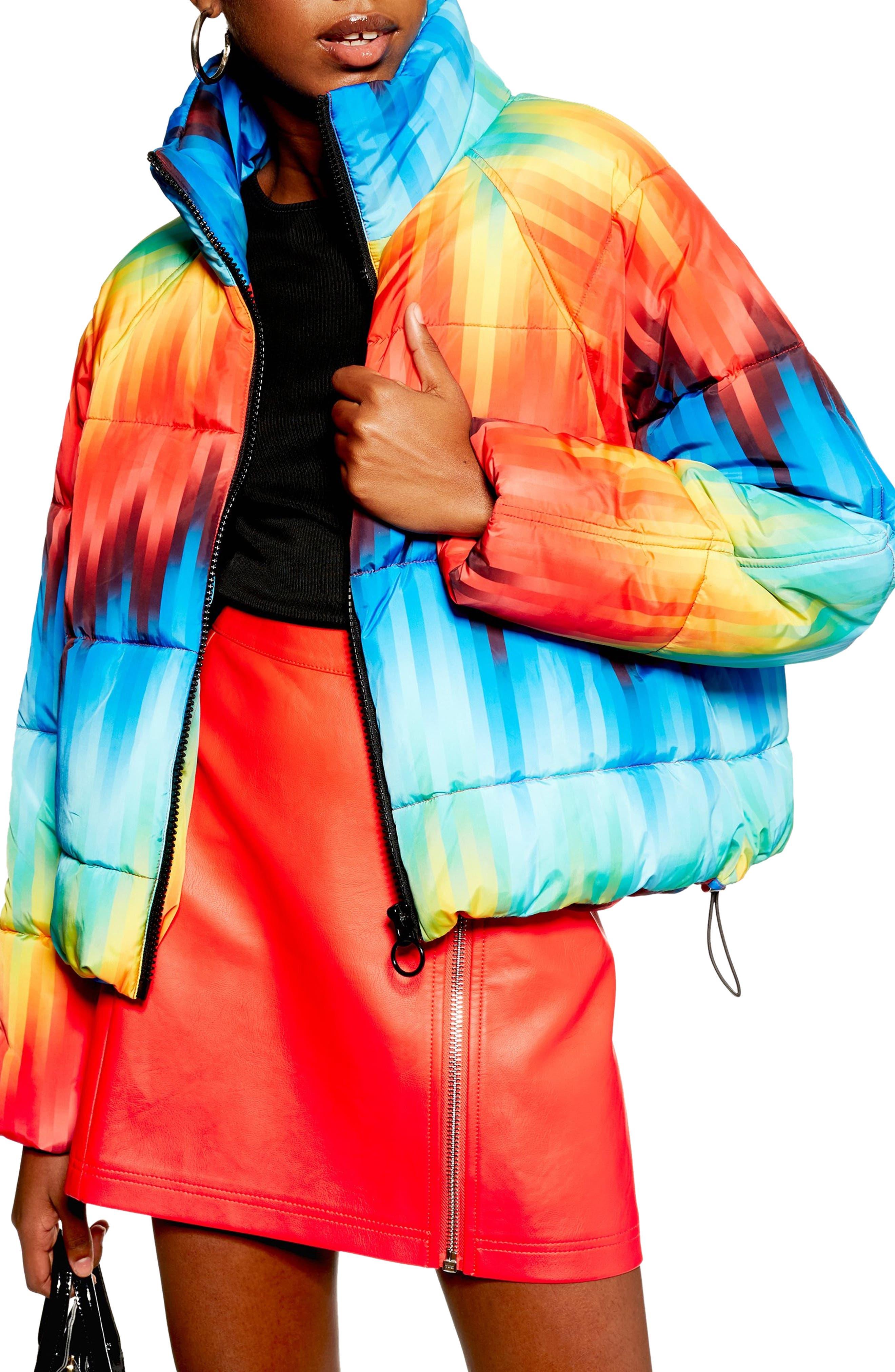TOPSHOP Rainbow Puffer Jacket, Main, color, 460