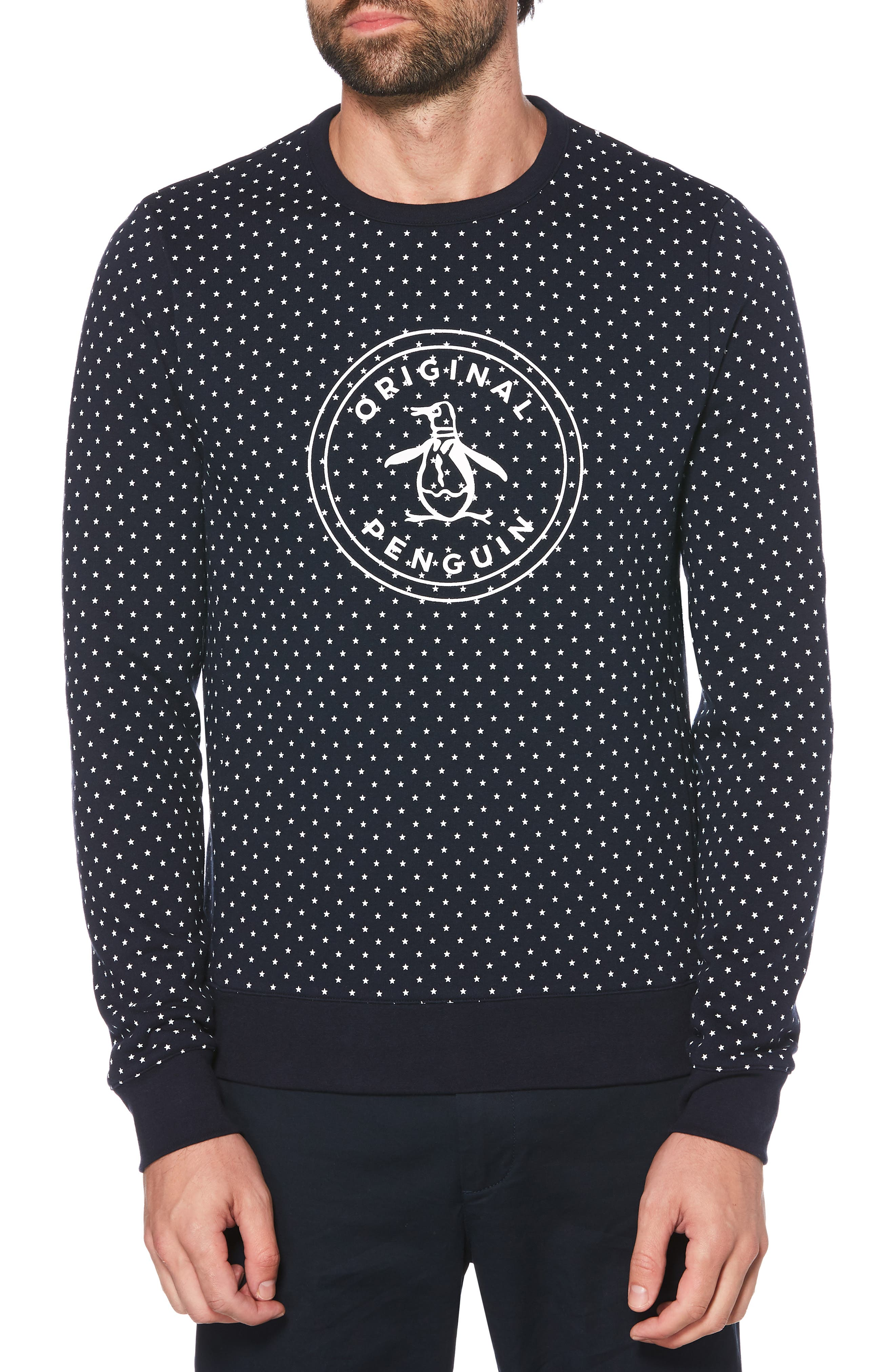 ORIGINAL PENGUIN, Star Print Logo Crewneck Sweatshirt, Main thumbnail 1, color, DARK SAPPHIRE