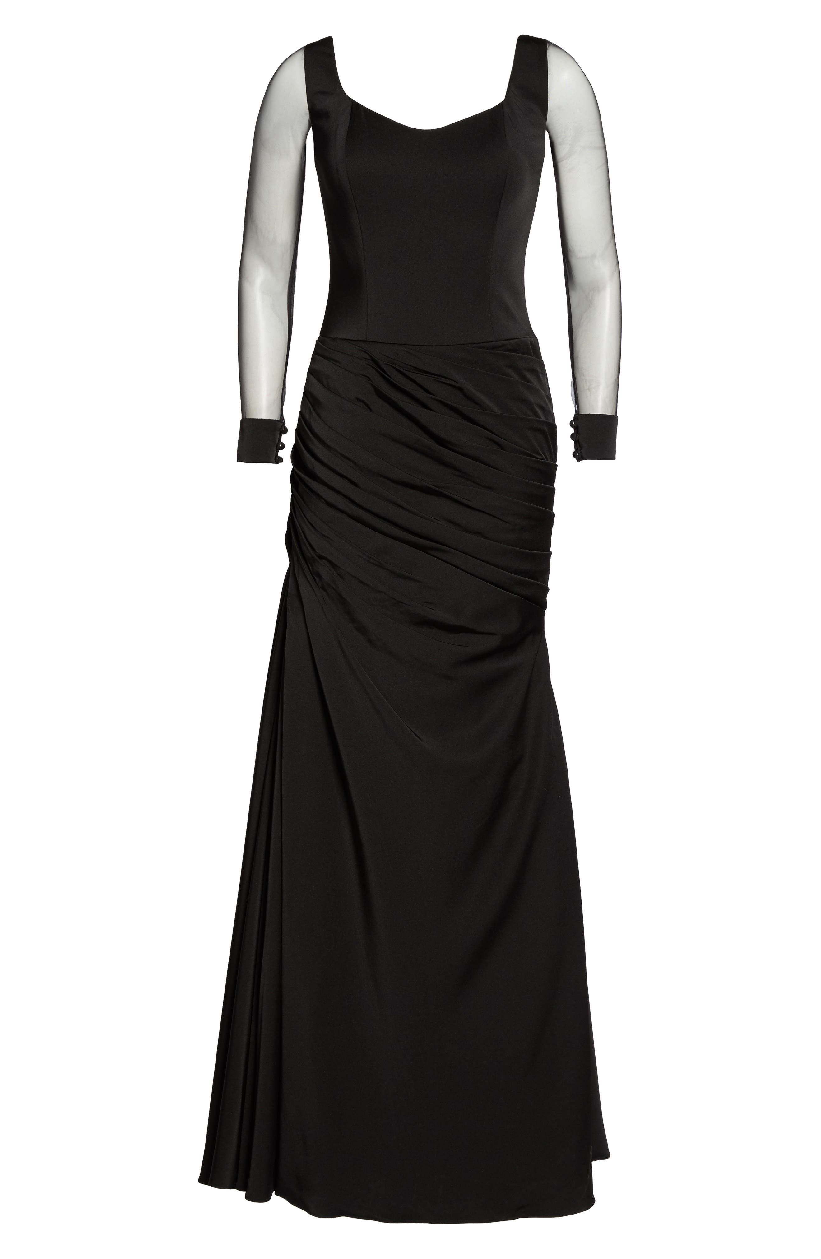LA FEMME, Sheer Sleeve Gown, Alternate thumbnail 6, color, BLACK