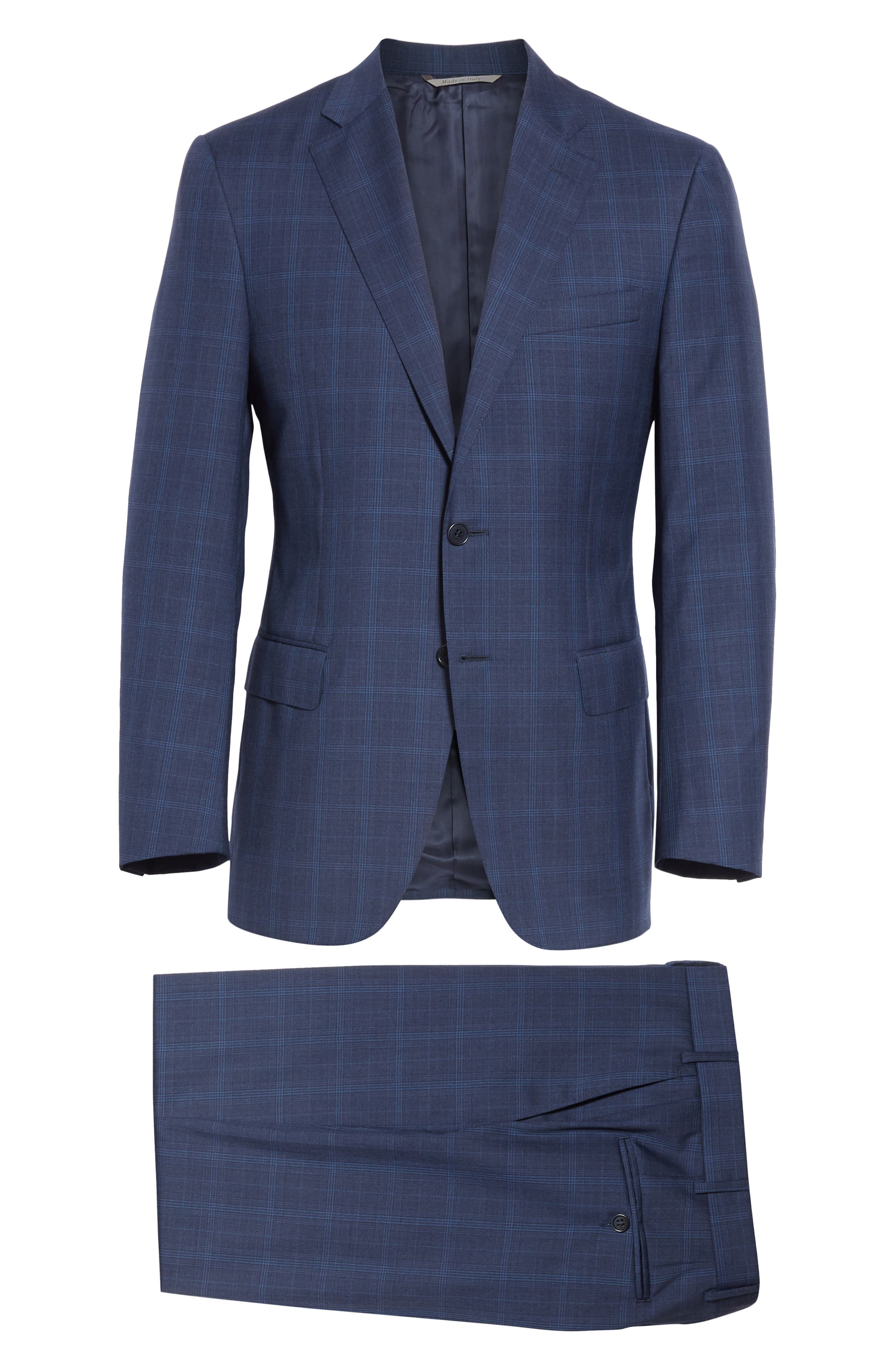 CANALI, Sienna Classic Fit Plaid Wool Suit, Alternate thumbnail 8, color, NAVY