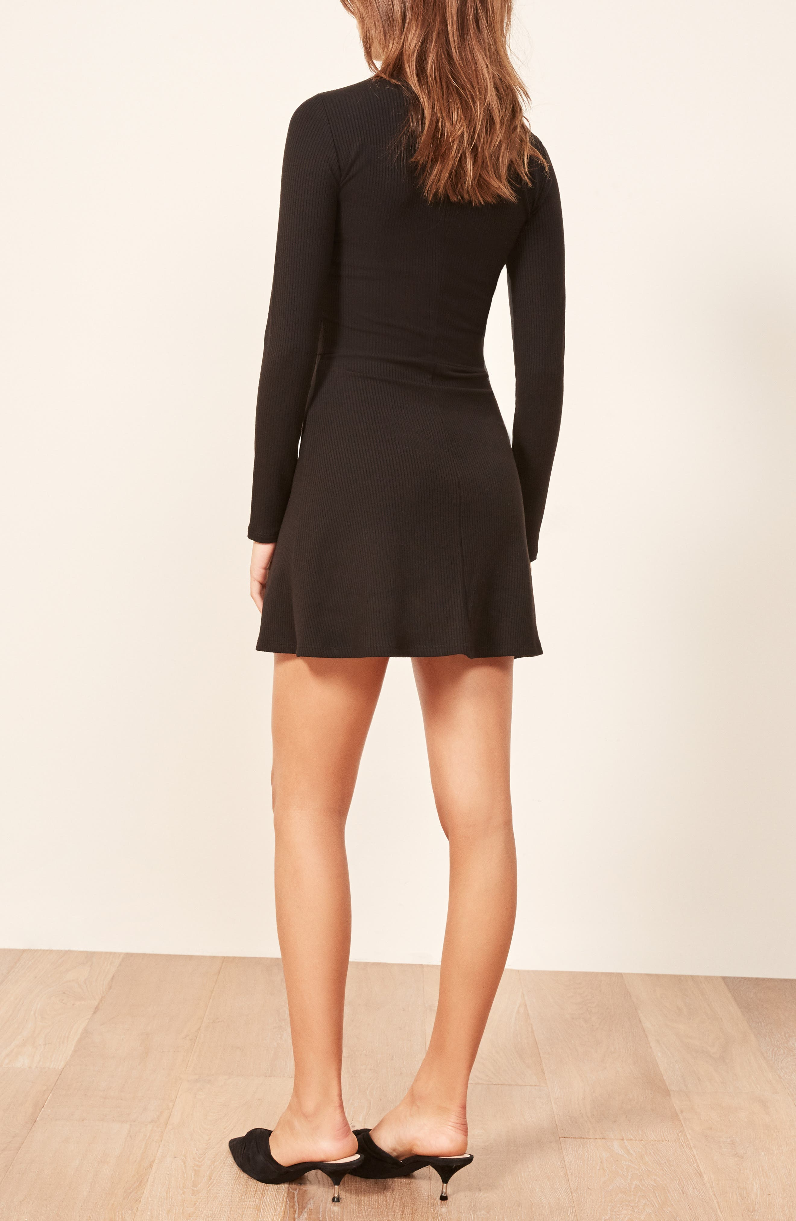 REFORMATION, Maya Turtleneck Body-Con Dress, Alternate thumbnail 4, color, BLACK