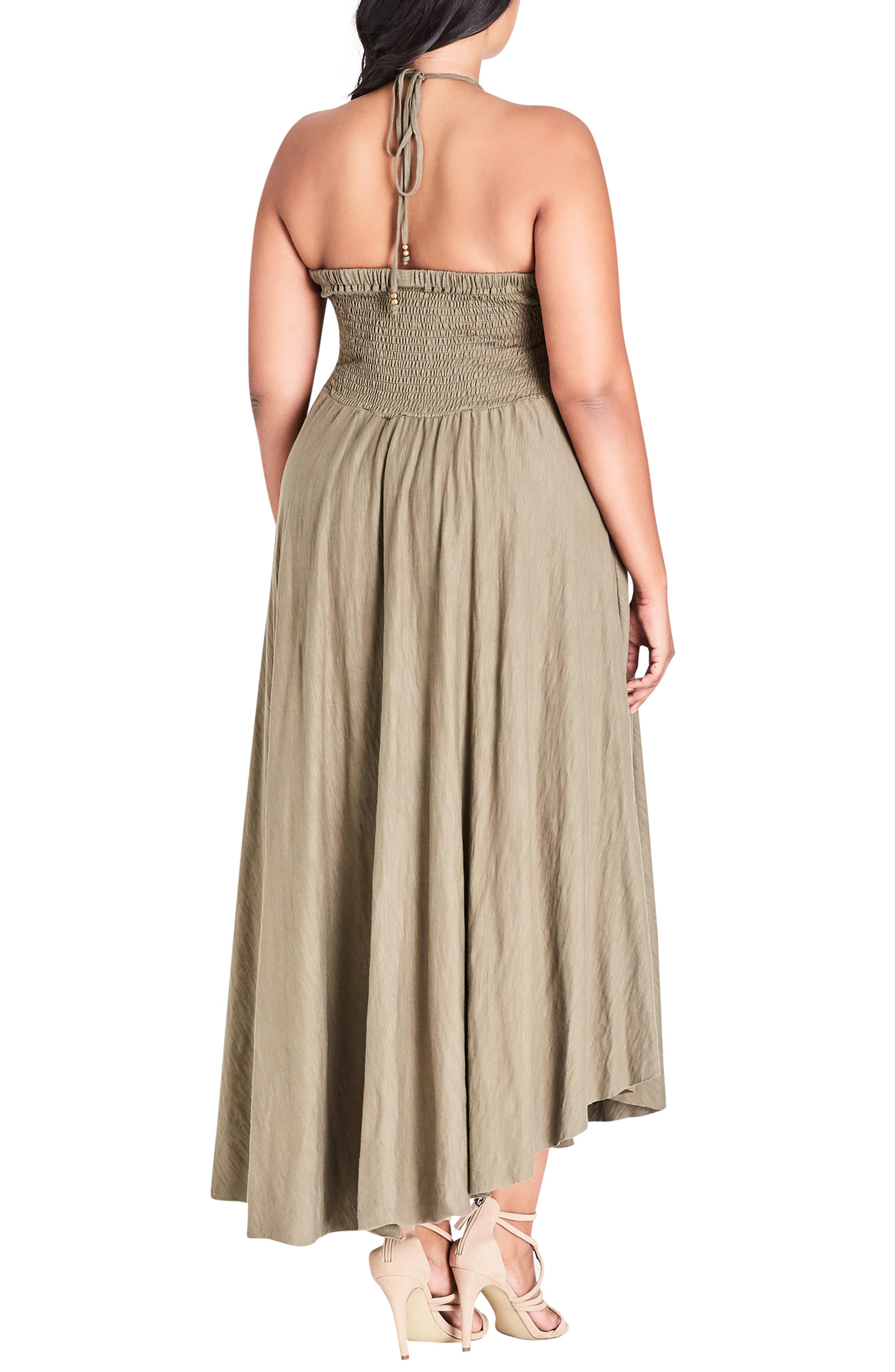 CITY CHIC, Strappy Asymmetrical Faux Wrap Halter Maxi Dress, Alternate thumbnail 2, color, KHAKI