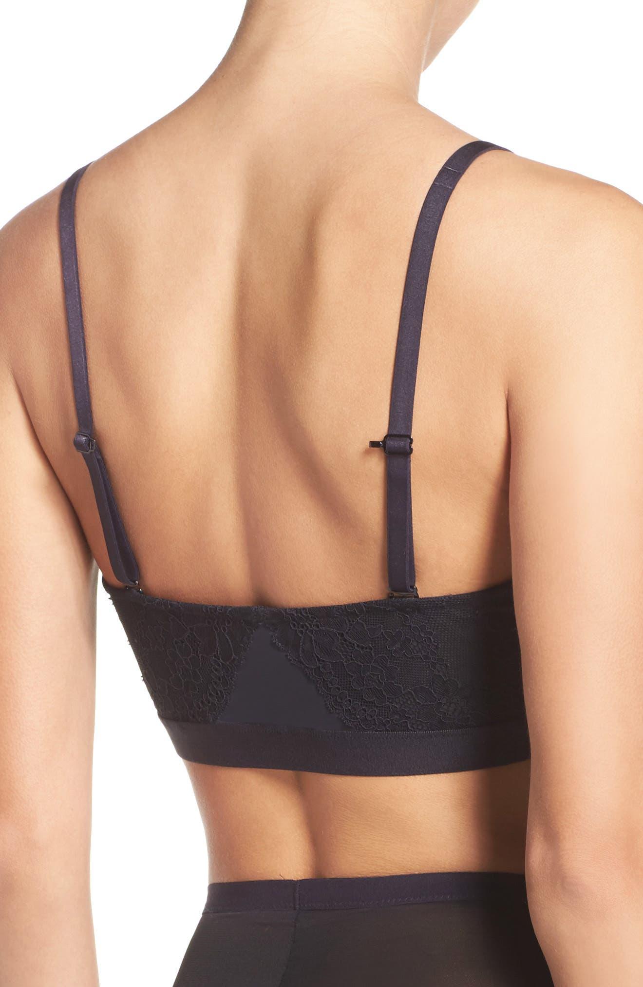SPANX<SUP>®</SUP>, Spotlight On Lace Bralette, Alternate thumbnail 2, color, VERY BLACK