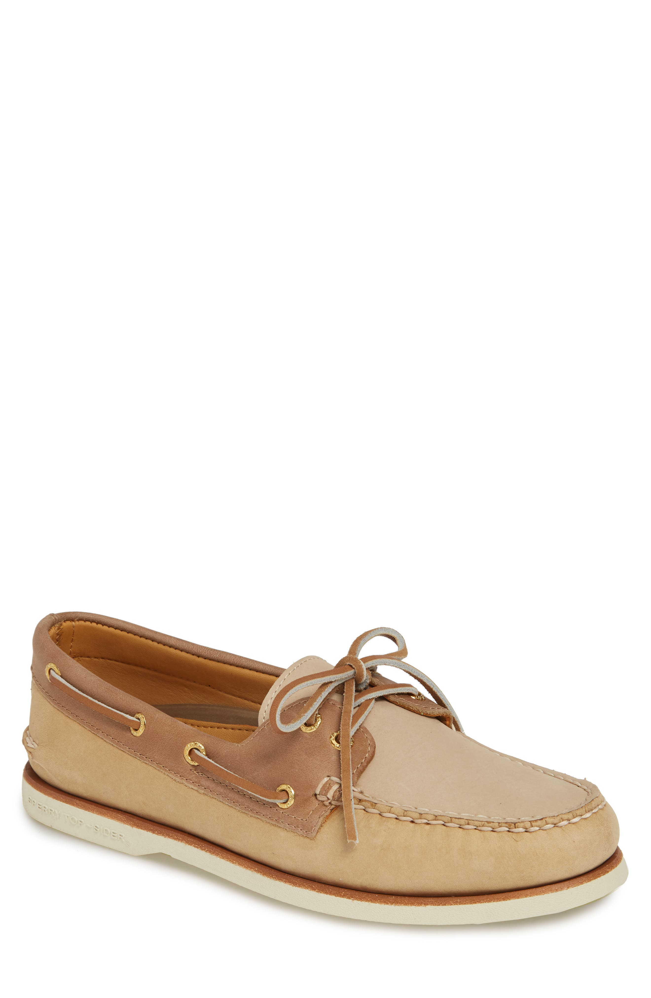 SPERRY, Gold Cup Authentic Original Boat Shoe, Main thumbnail 1, color, TAN/ BROWN/ CREAM LEATHER