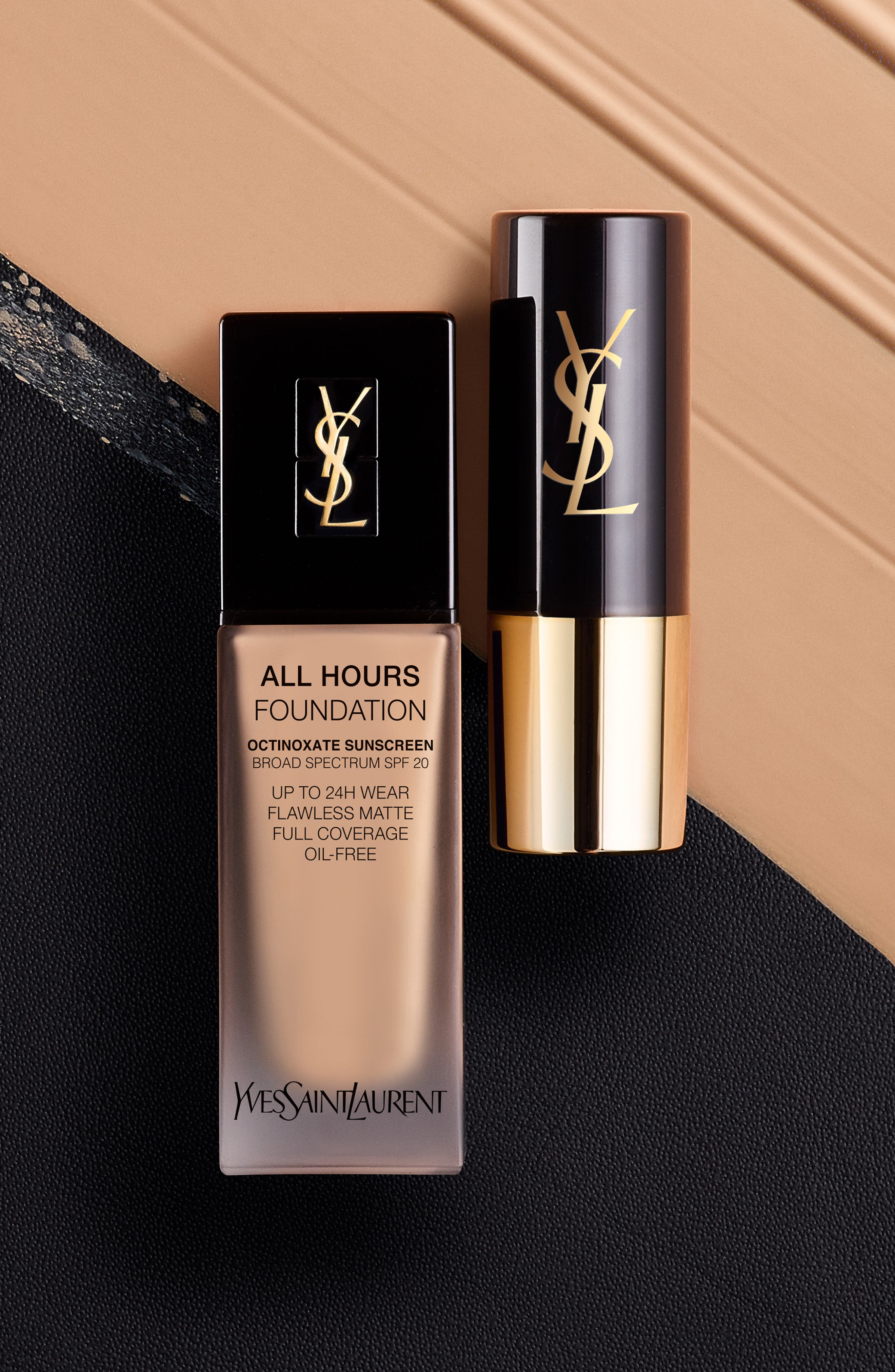 YVES SAINT LAURENT, All Hours Full Coverage Matte Foundation SPF 20, Alternate thumbnail 7, color, B60 AMBER
