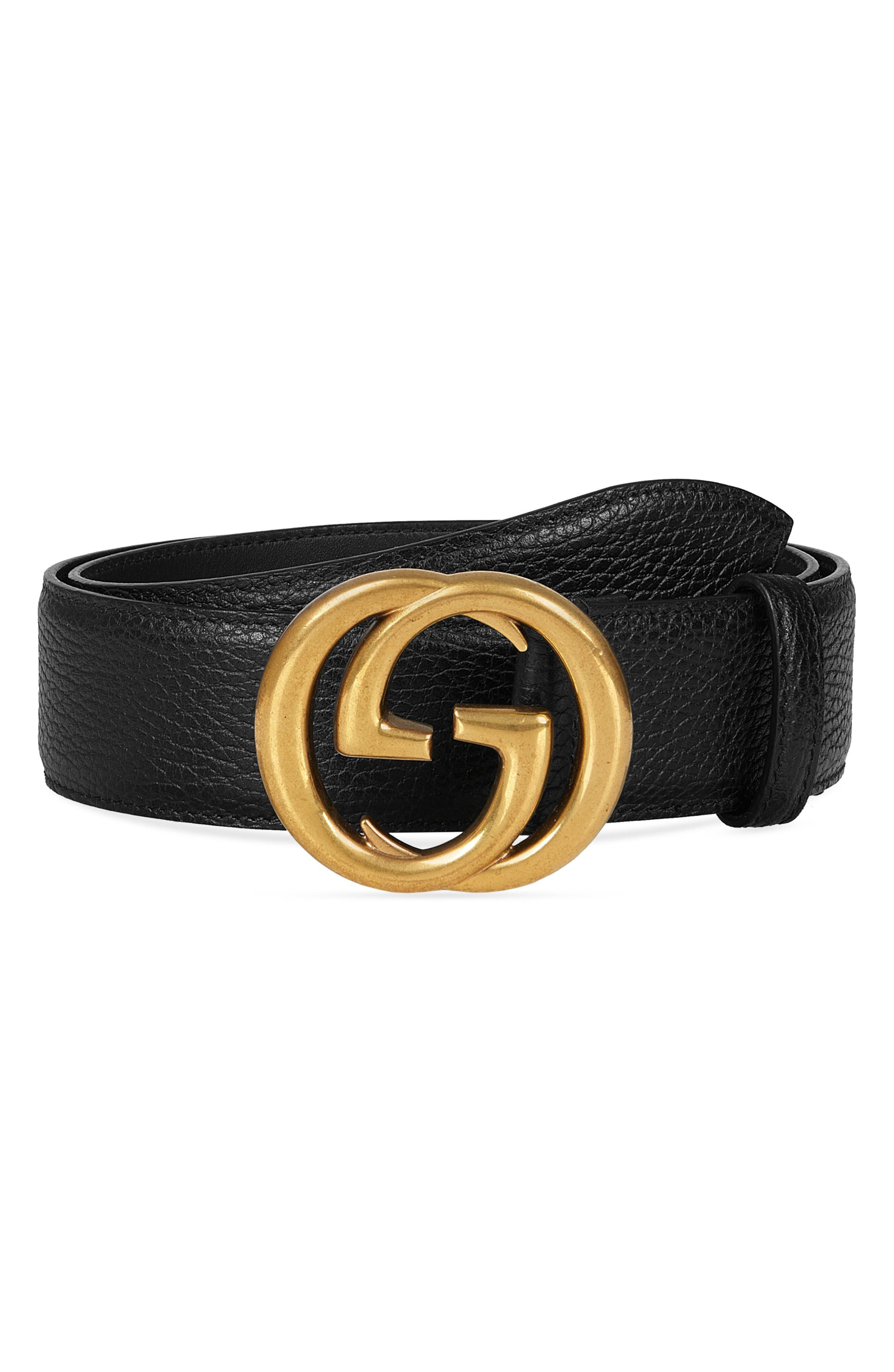 GUCCI, Interlocking-G Calfskin Leather Belt, Main thumbnail 1, color, BLACK