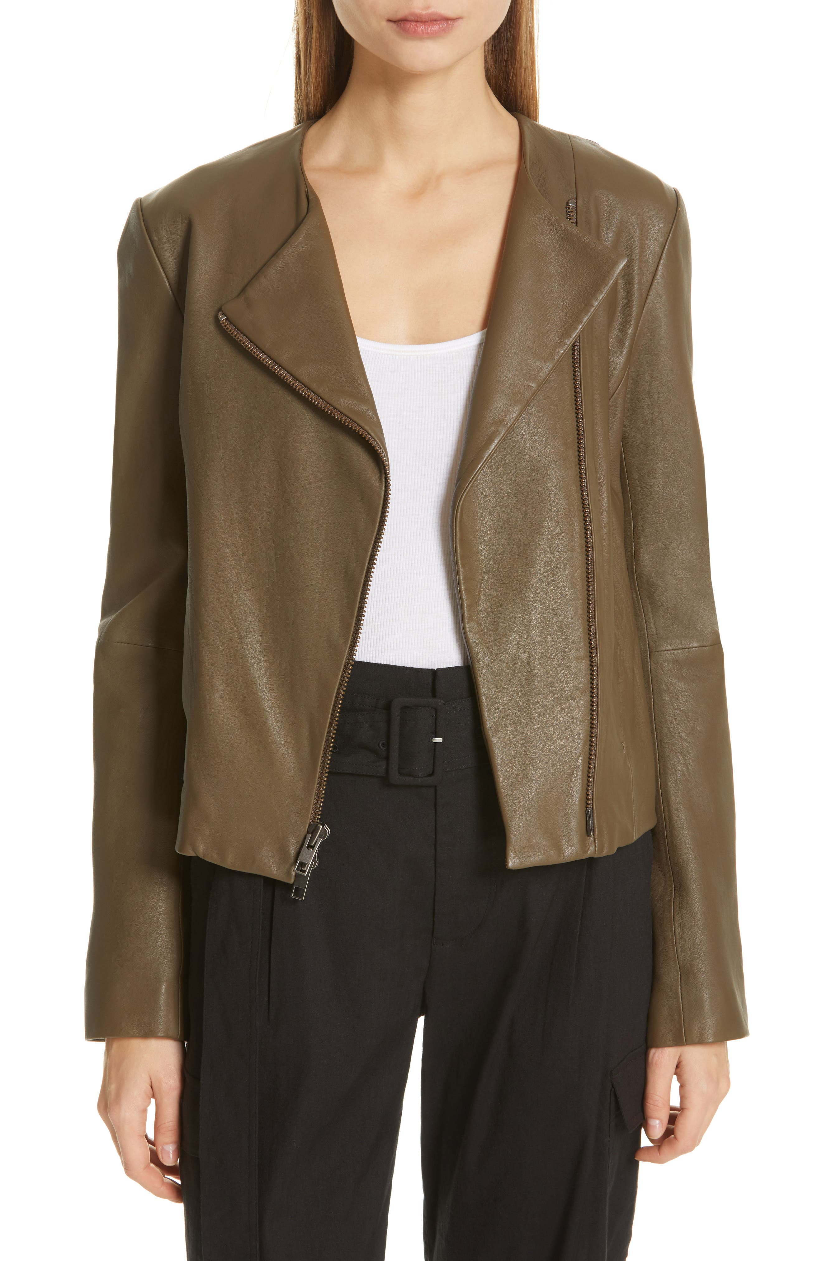 VINCE, Cross Front Leather Jacket, Main thumbnail 1, color, OLIVE WOOD