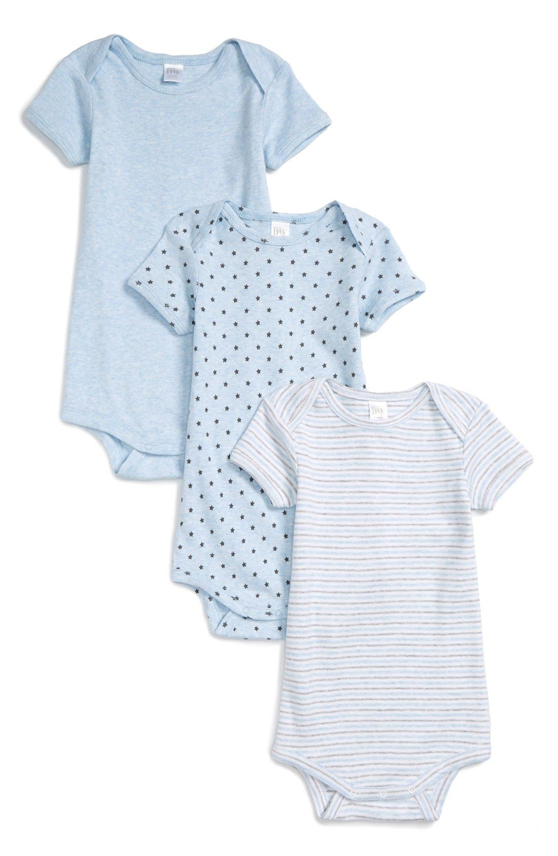 NORDSTROM BABY, 3-Pack Bodysuits, Main thumbnail 1, color, BLUE PRECIOUS PACK