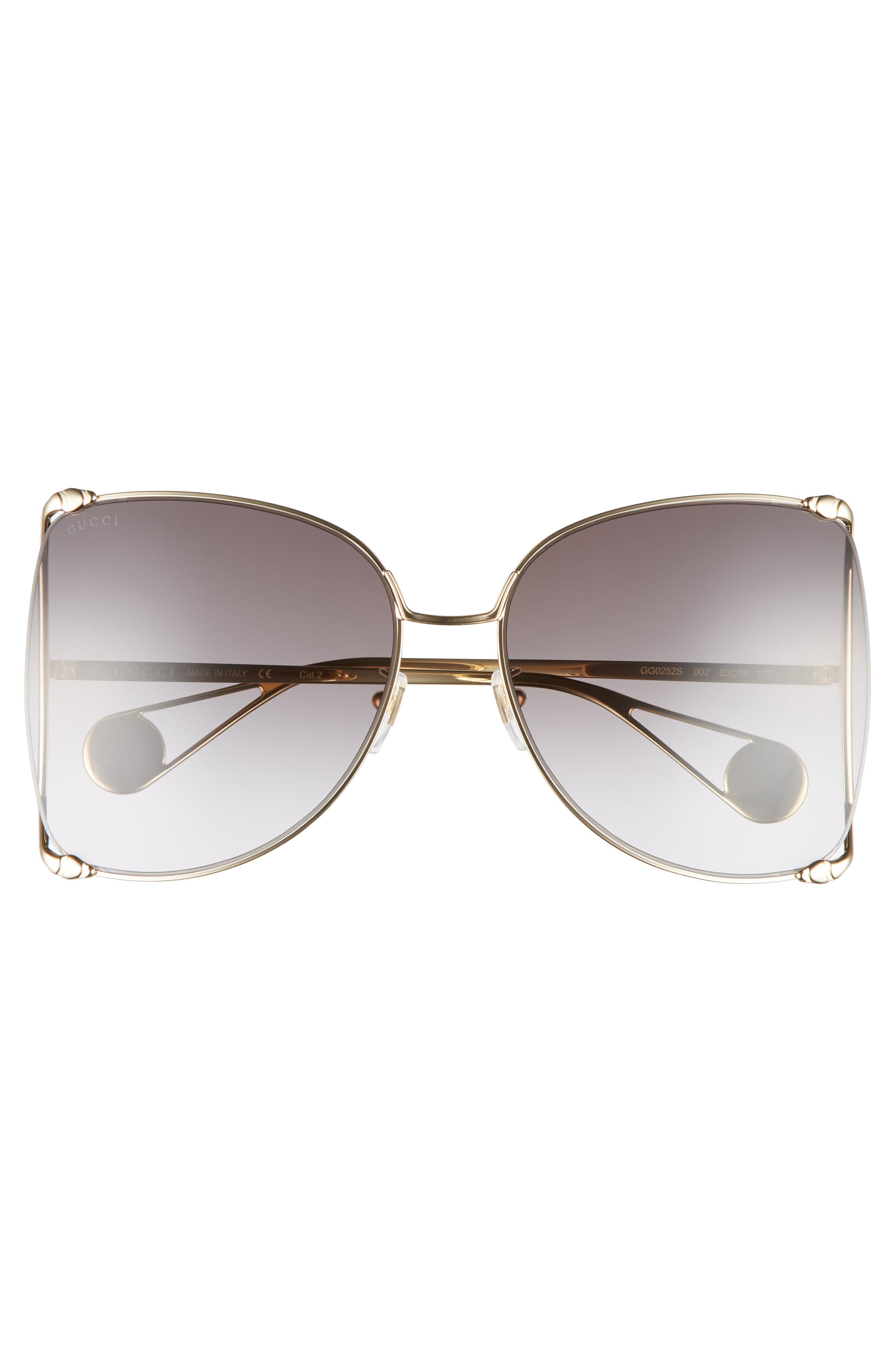 GUCCI, 63mm Gradient Oversize Butterfly Sunglasses, Alternate thumbnail 3, color, GOLD/ GRADIENT GREY