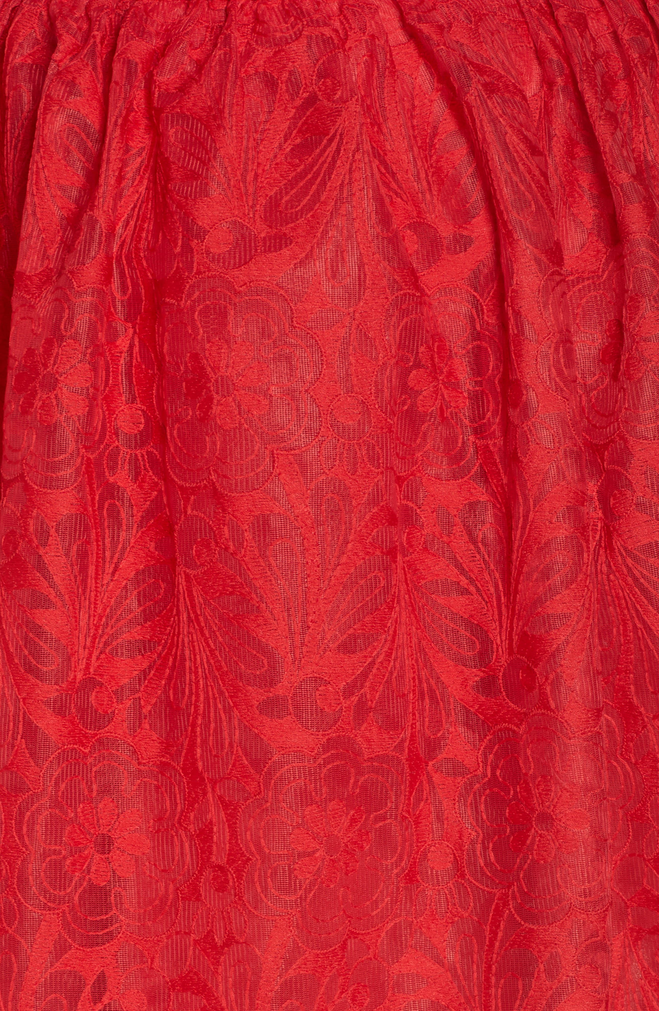 CHI CHI LONDON, Crochet Dress, Alternate thumbnail 6, color, RED