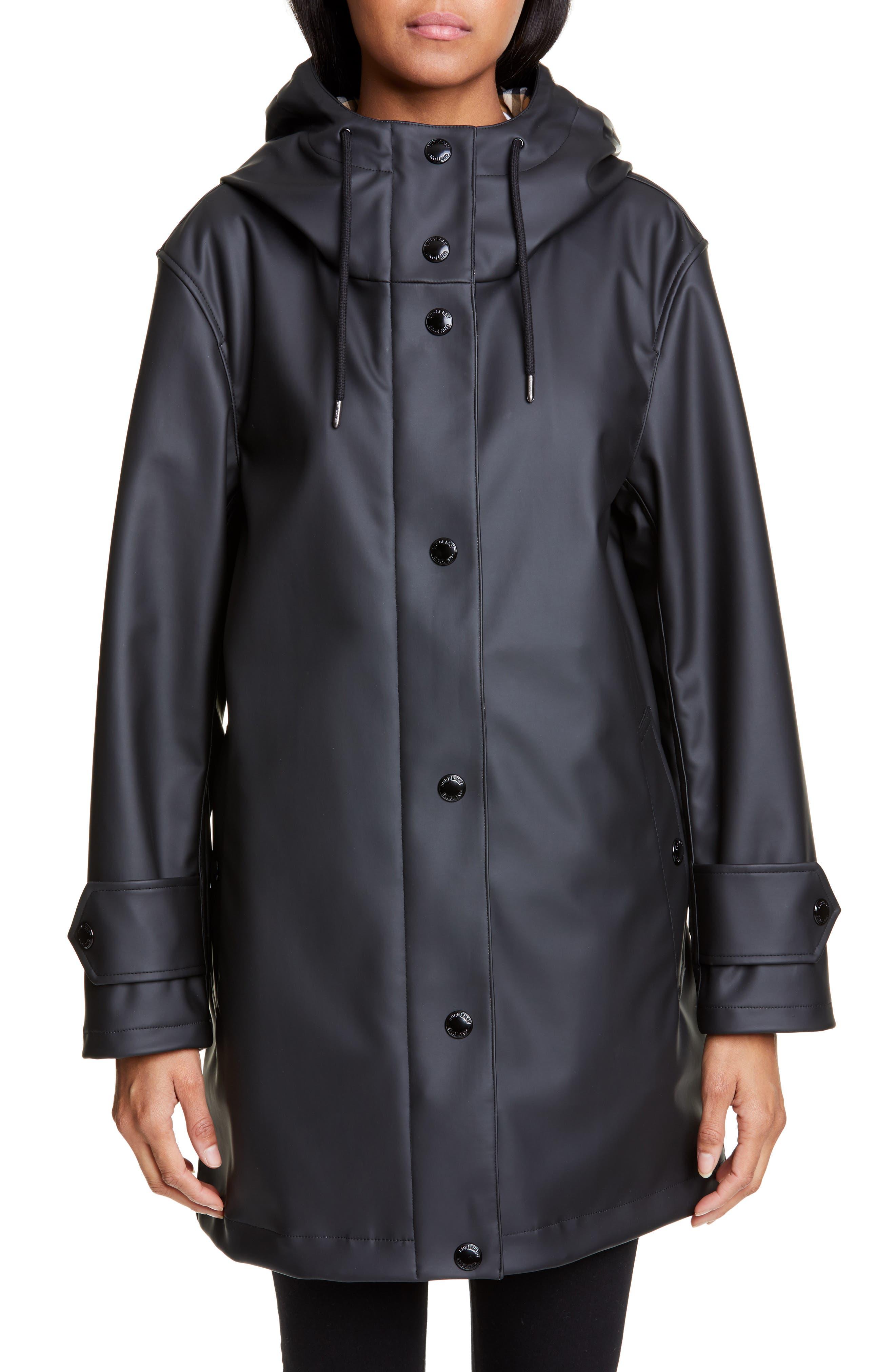 BURBERRY, Hartlebury Coated Rain Coat, Main thumbnail 1, color, BLACK / WHITE