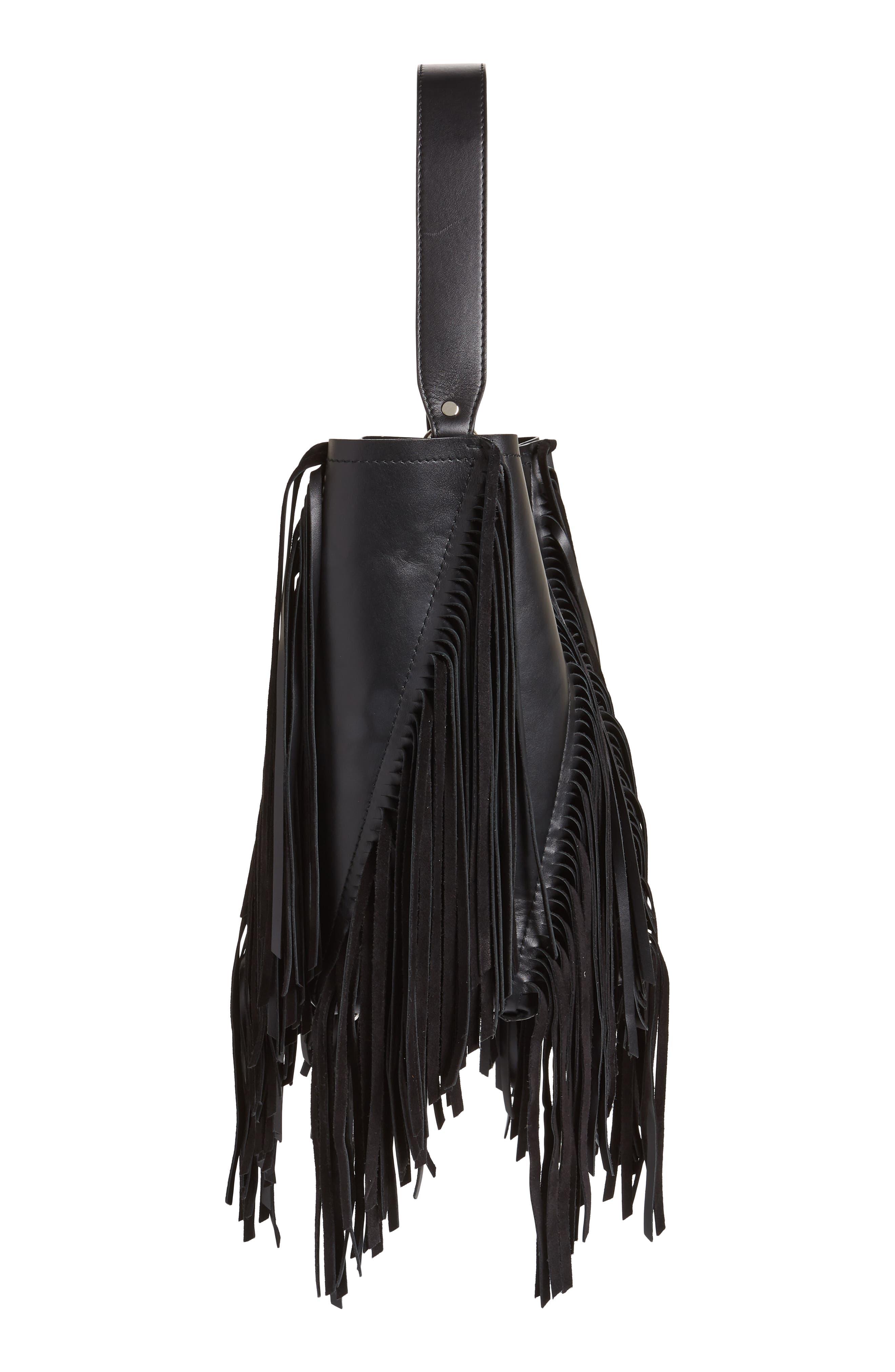PROENZA SCHOULER, Medium Hex Fringe Calfskin Leather Bucket Bag, Alternate thumbnail 5, color, BLACK/ BLACK