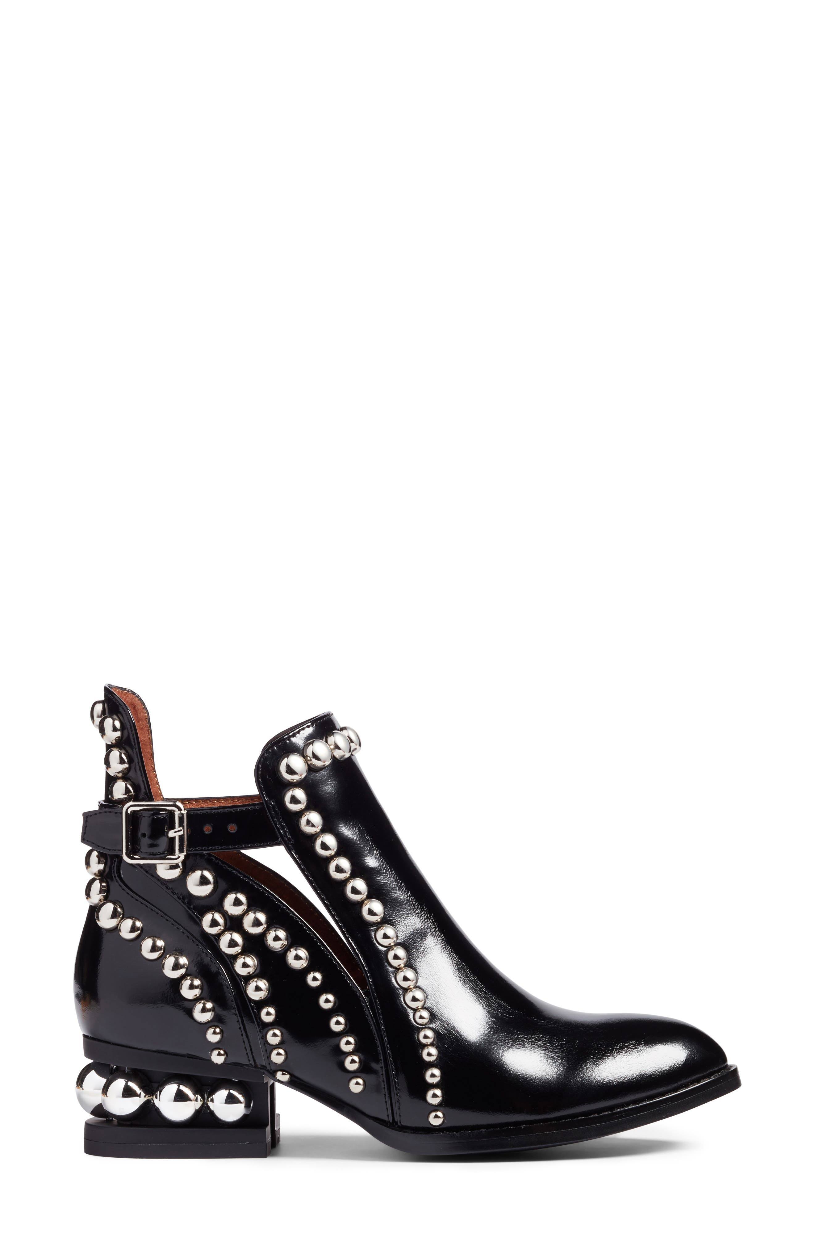 JEFFREY CAMPBELL, Rylance Studded Bootie, Alternate thumbnail 3, color, BLACK BOX SILVER LEATHER