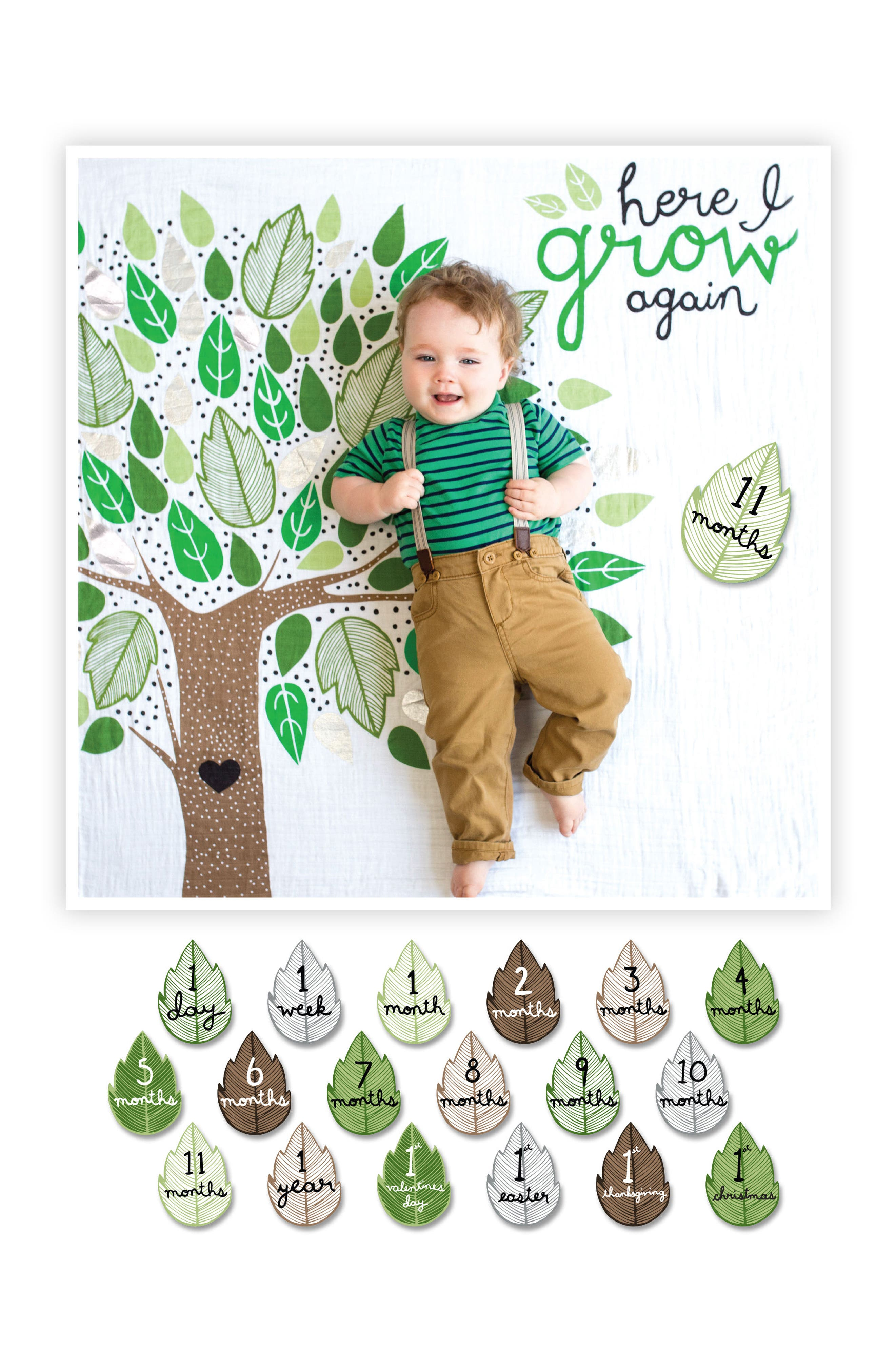 LULUJO, Baby's First Year - Here I Grow Again Muslin Blanket & Milestone Card Set, Alternate thumbnail 3, color, GREEN