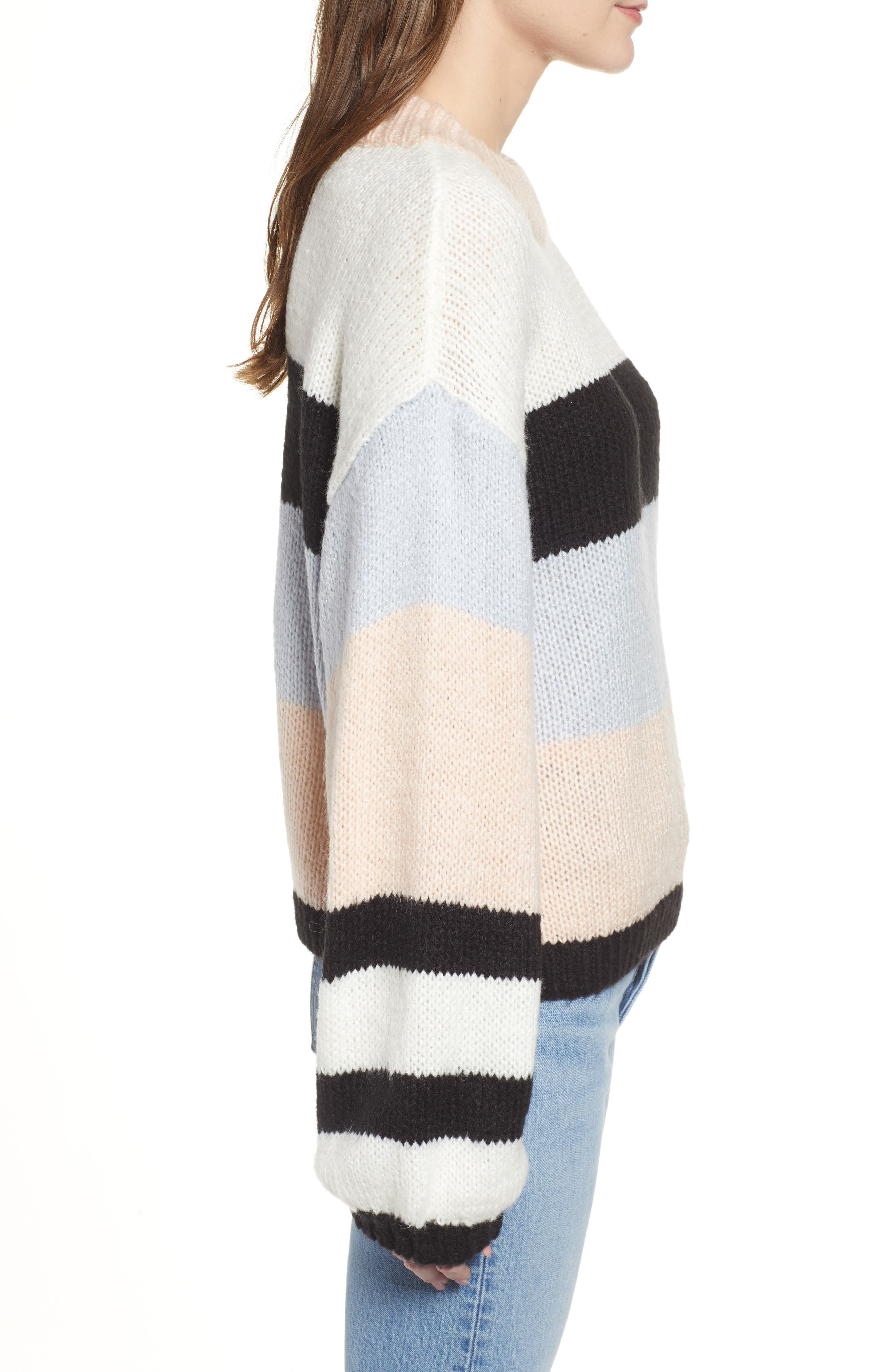 BP., Stripe Sweater, Alternate thumbnail 3, color, 660