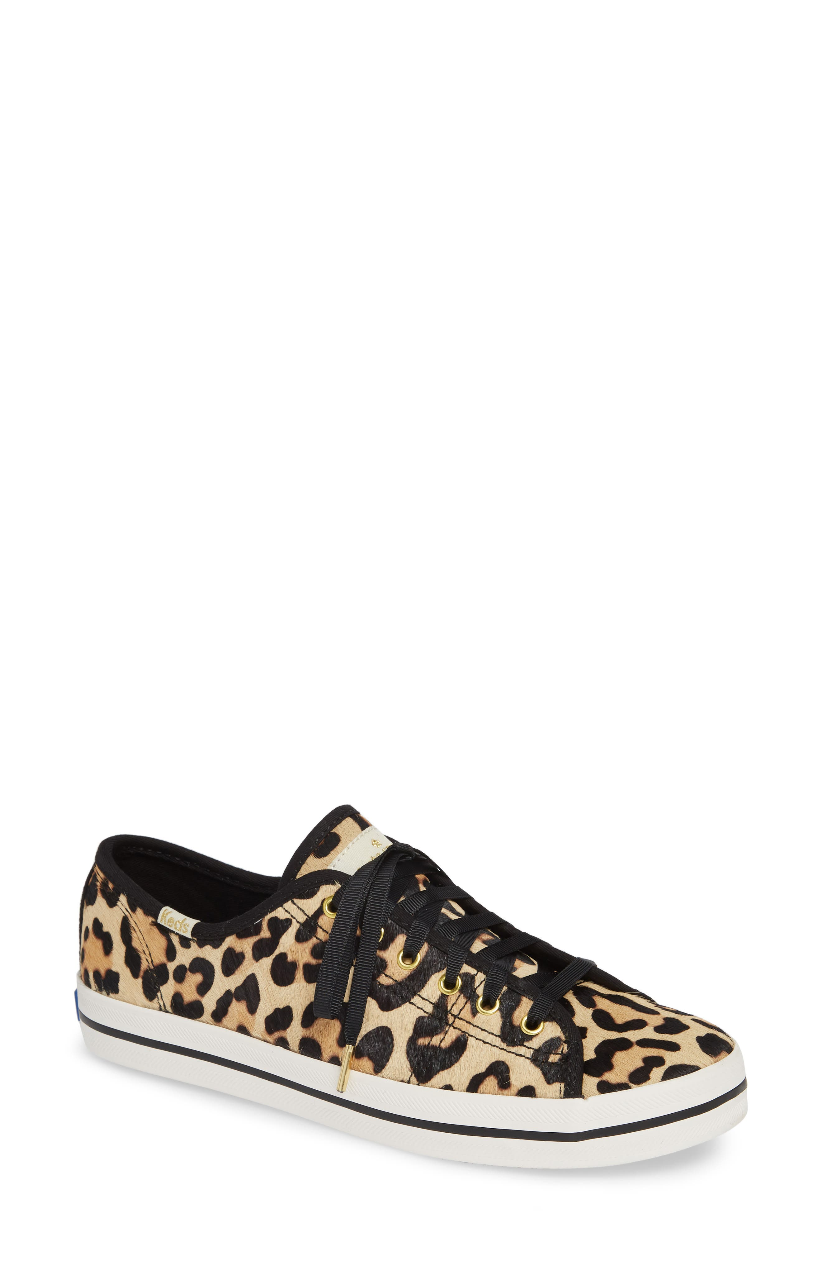 KEDS<SUP>®</SUP> FOR KATE SPADE NEW YORK, kickstart genuine calf hair sneaker, Main thumbnail 1, color, TAN LEOPARD CALF HAIR