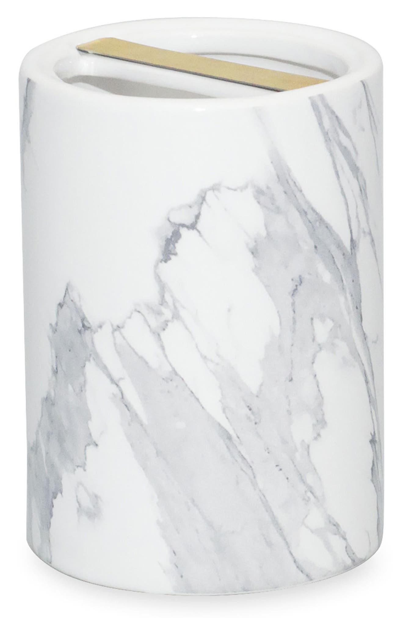 DKNY, Mixed Media Toothbrush Holder, Main thumbnail 1, color, WHITE